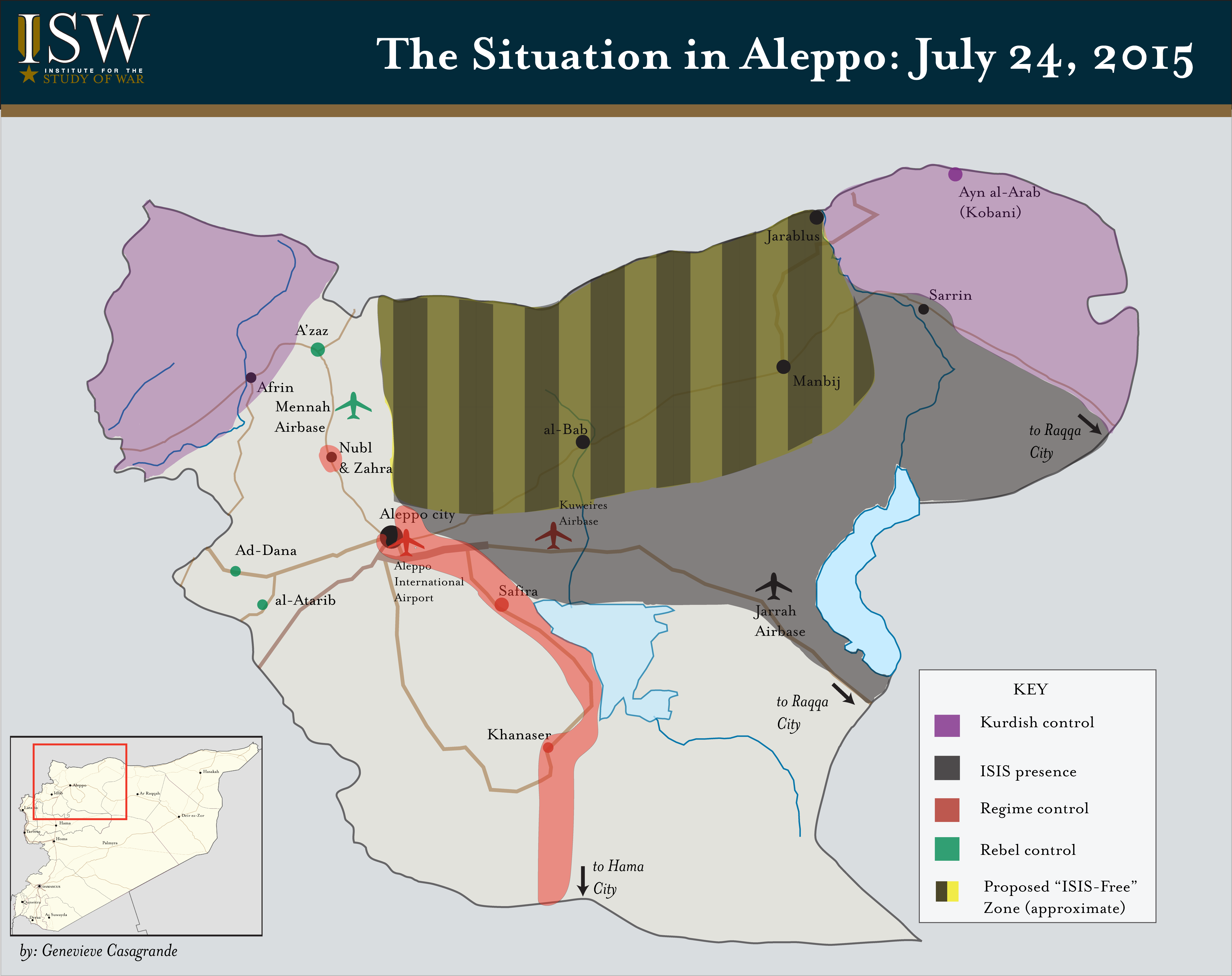 The striped section of the map is the proposed  no-ISIS zone.
