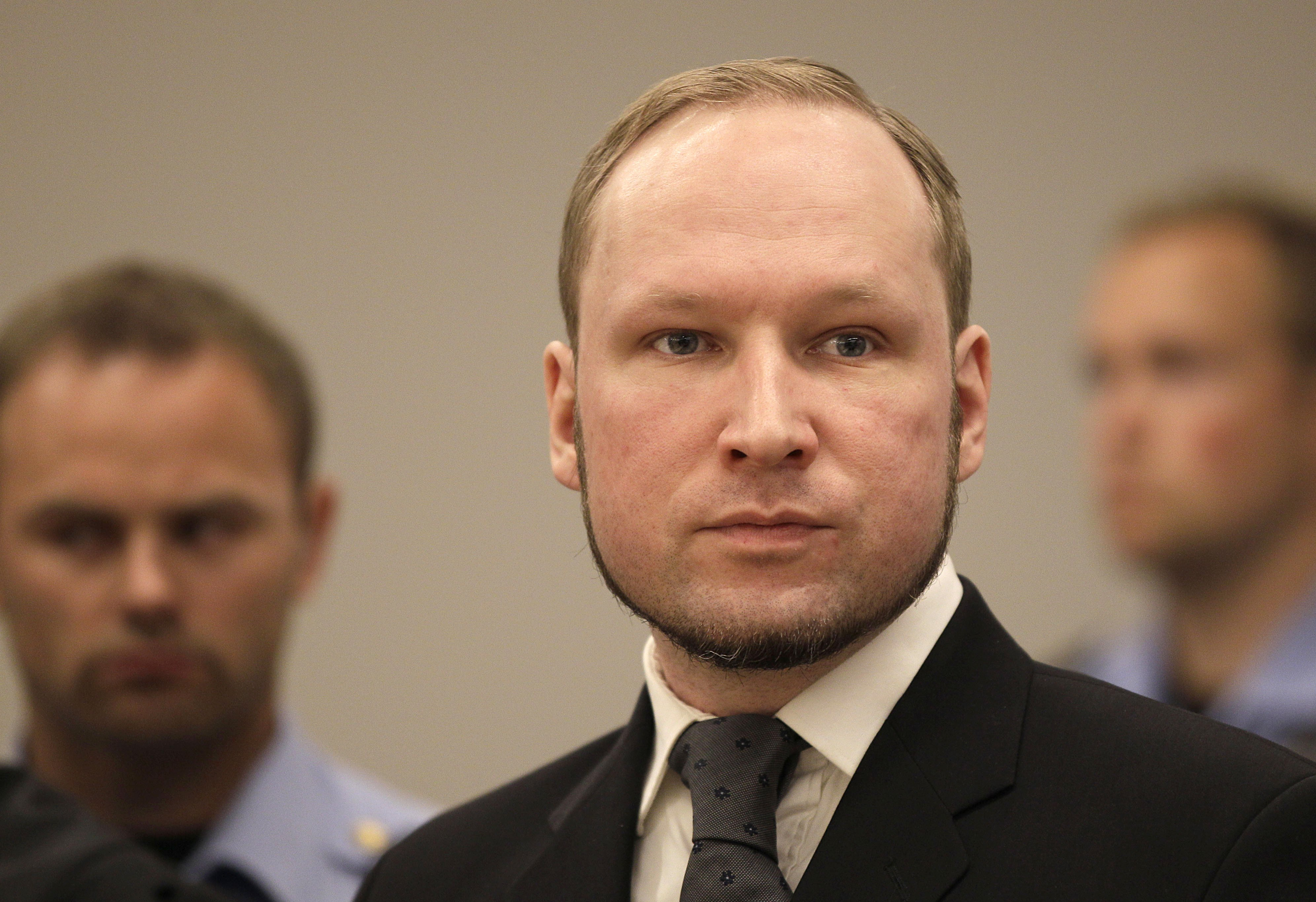 Anders Behring Breivik listens to the judge in the courtroom, in Oslo, Norway on Aug. 24, 2012.