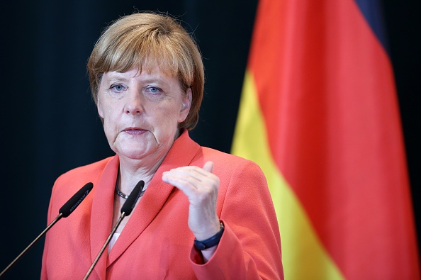 German Chancellor Angela Merkel at a press conference after meeting with Albanian Prime Minister Edi Rama in Tirana on July 8, 2015.