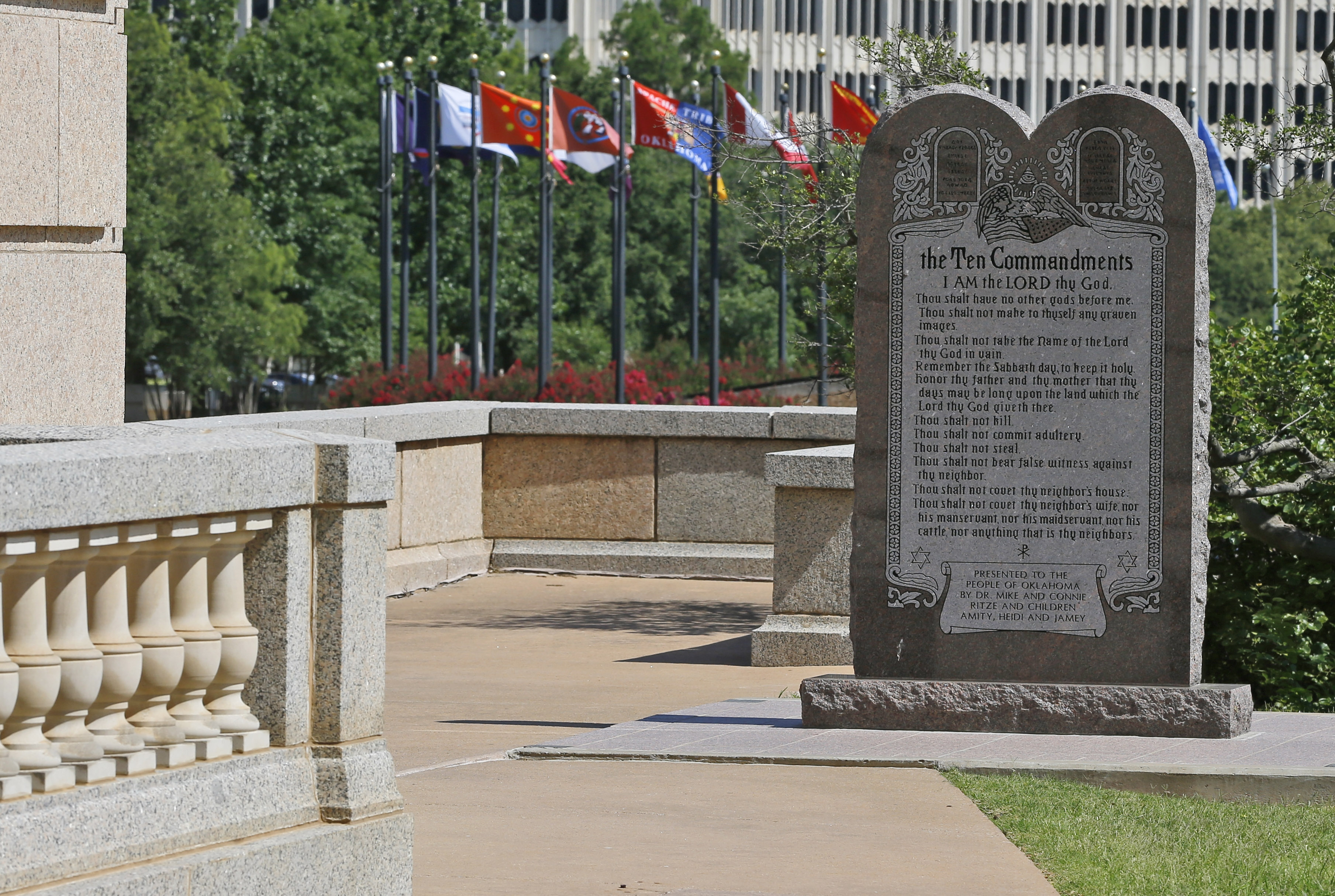 The Ten Commandments monument is pictured at the state Capitol in Oklahoma City, Tuesday, June 30, 2015. Oklahoma''s Supreme Court says the monument must be removed because it indirectly benefits the Jewish and Christian faiths in violation of the state constitution.