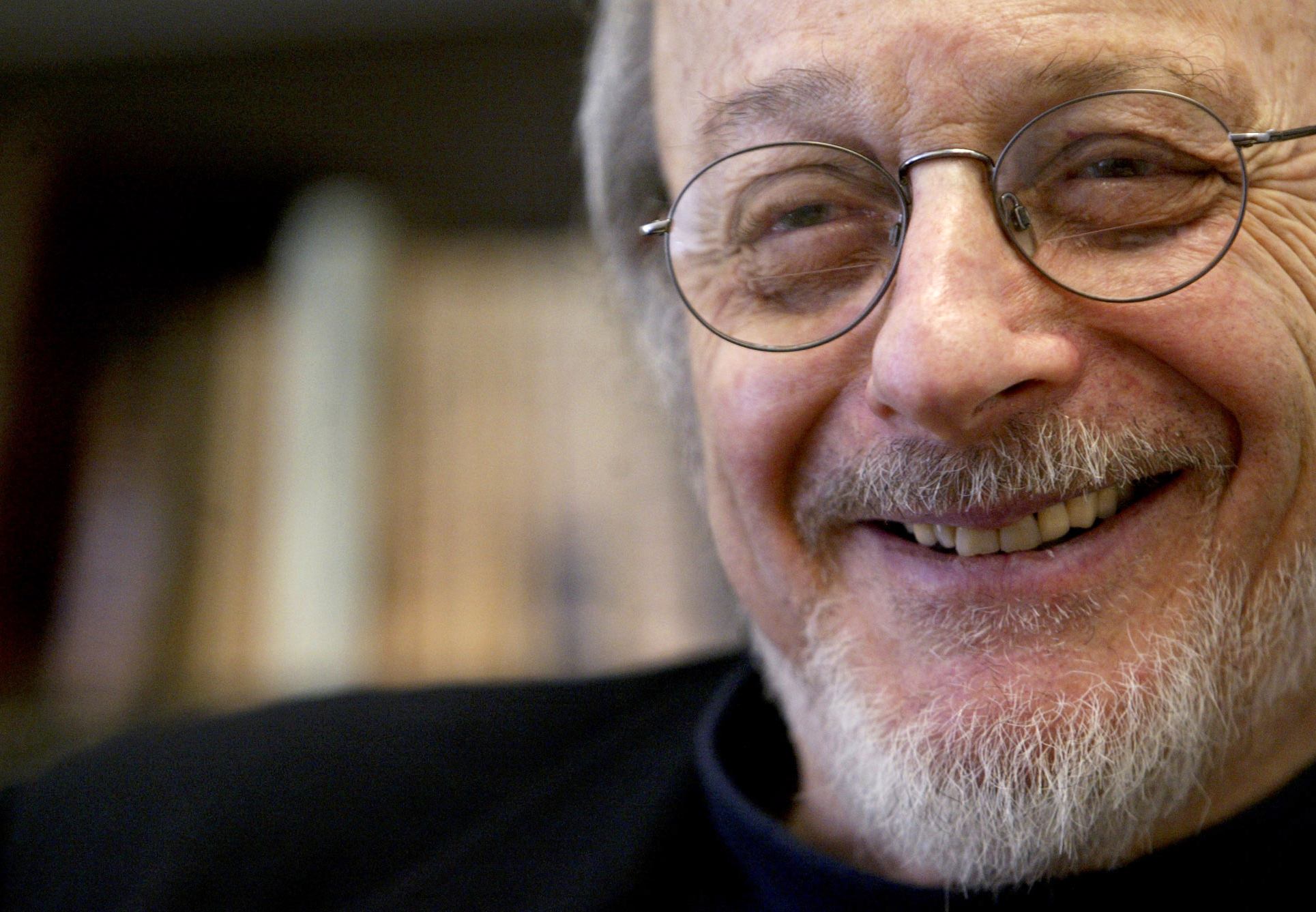 Author E.L. Doctorow smiles during an interview in his office at New York University on April 27, 2004