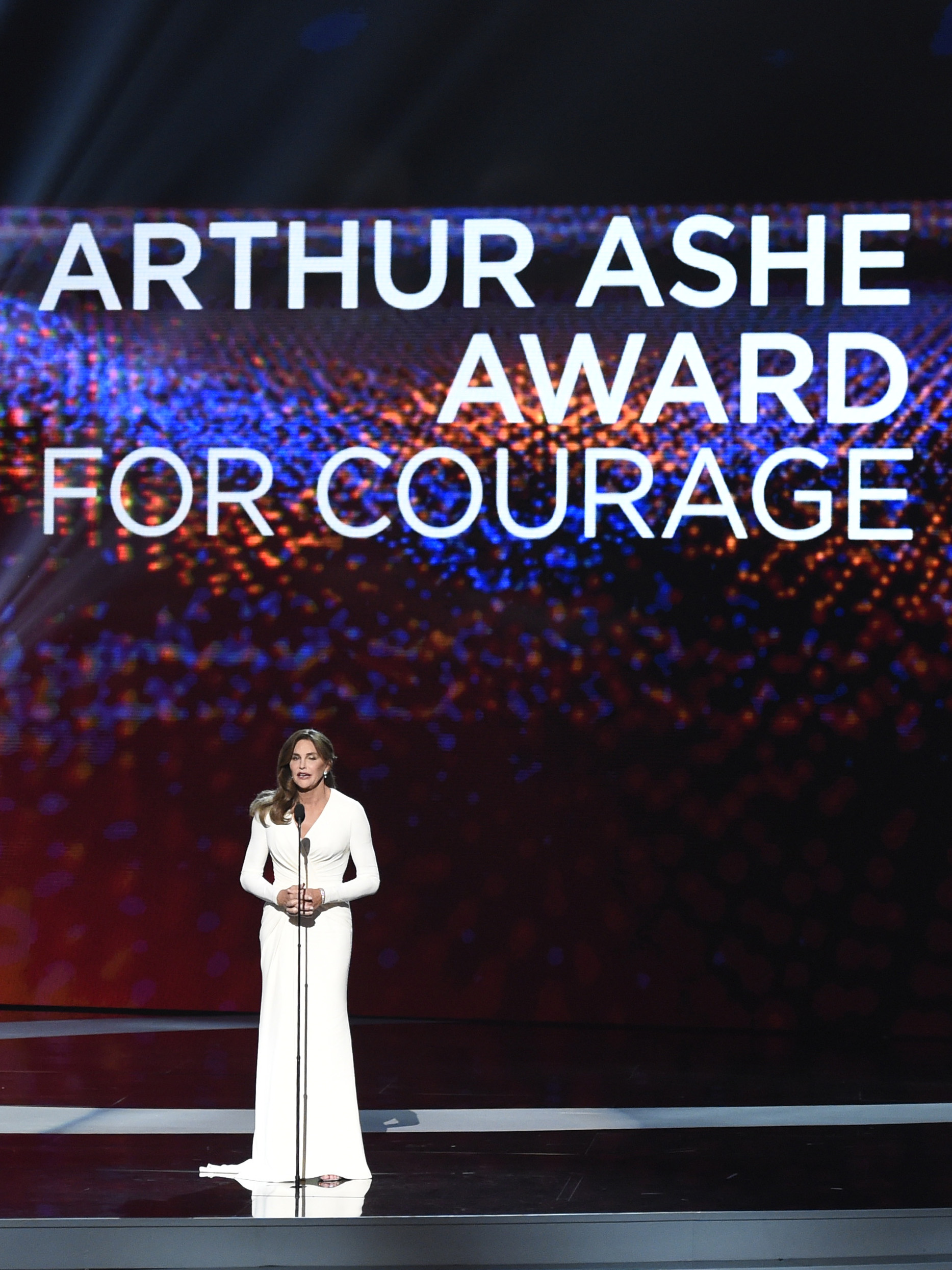Caitlyn Jenner accepts the Arthur Ashe award for Courage at the ESPY Awards at the Microsoft Theater on July 15, 2015.