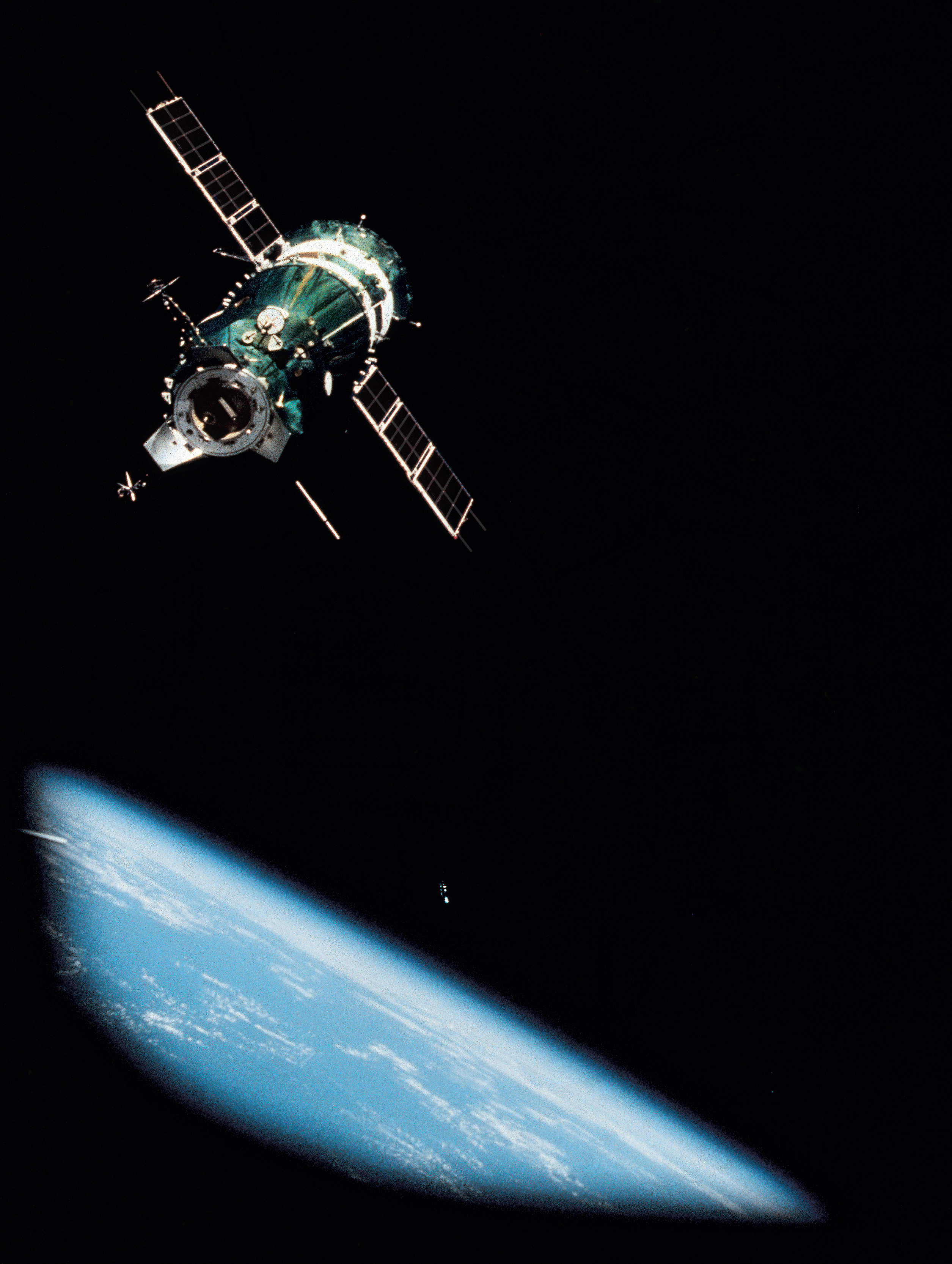 The Soviet Soyuz spacecraft approaches the Apollo for linkup in space, the first rendezvous and docking of vessels from different nations.
