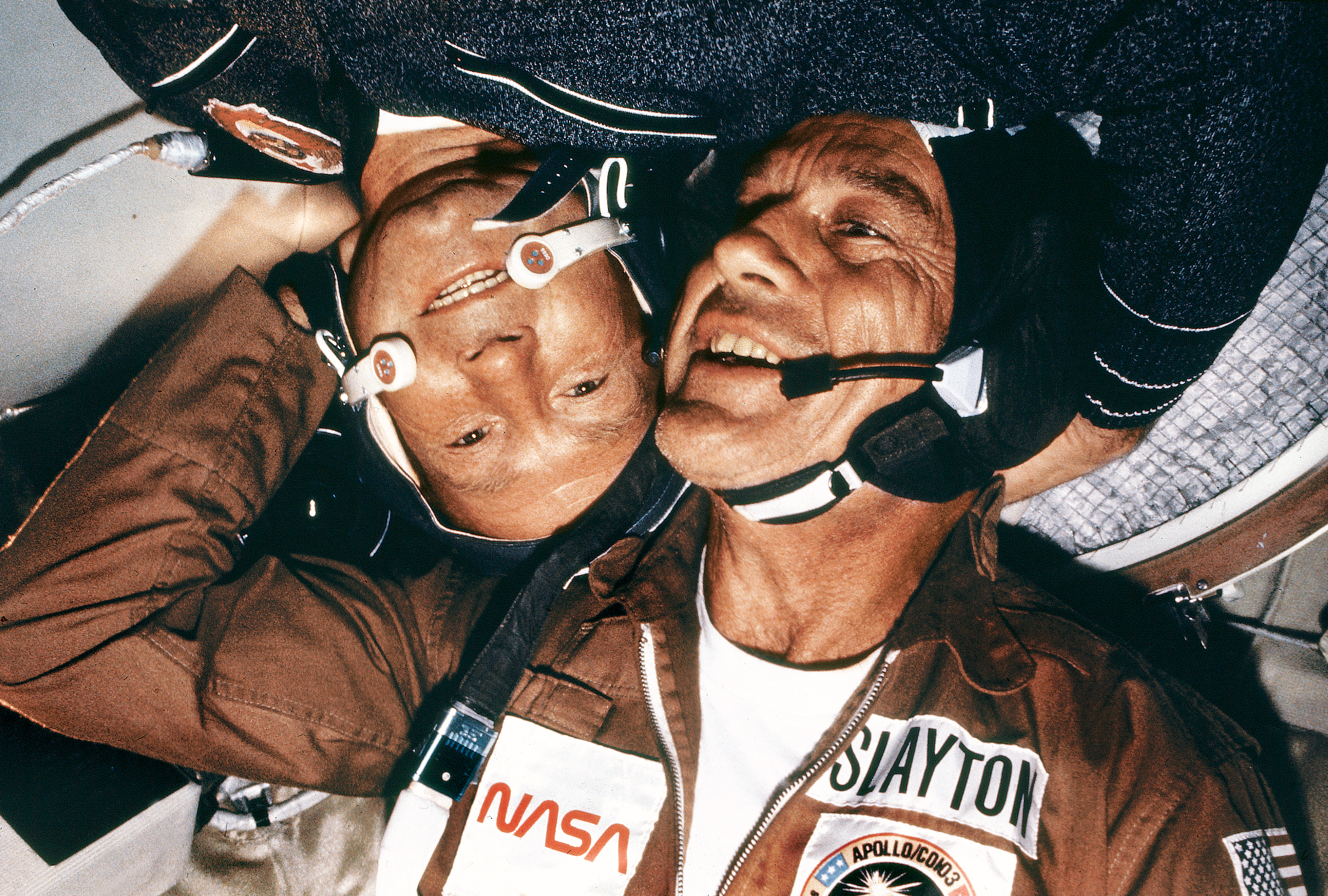 American astronaut Deke Slayton and Russian cosmonaut Alexei Leonov during the US-Soviet Apollo-Soyuz linkup.