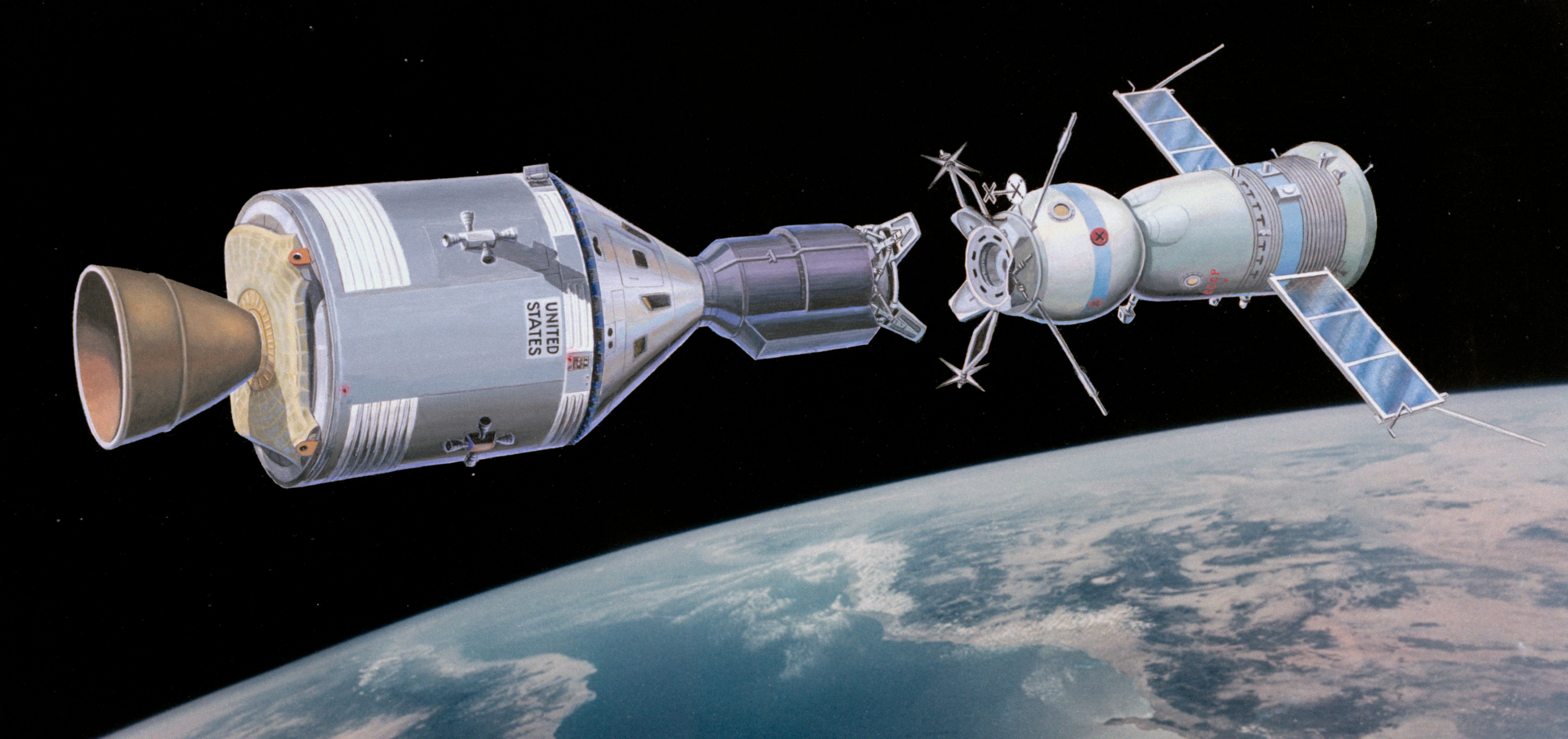 This artist's concept illustrates the Apollo-type spacecraft about to dock with a Soviet Soyuz-type spacecraft (right).
