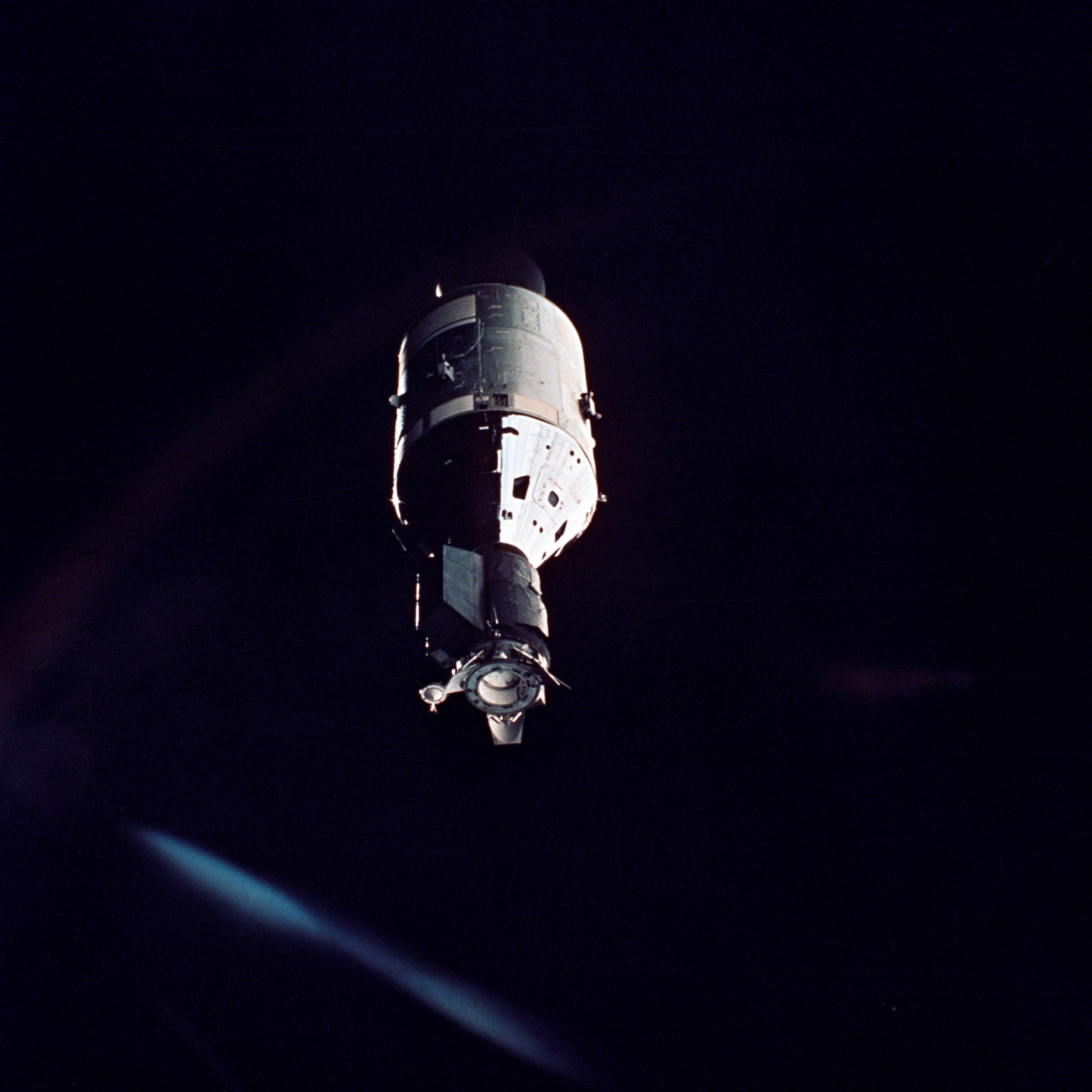 The American Apollo spacecraft as seen in Earth orbit from the Soviet Soyuz 19 spacecraft during the joint U.S.-USSR Apollo Soyuz Test Project (ASTP) mission.