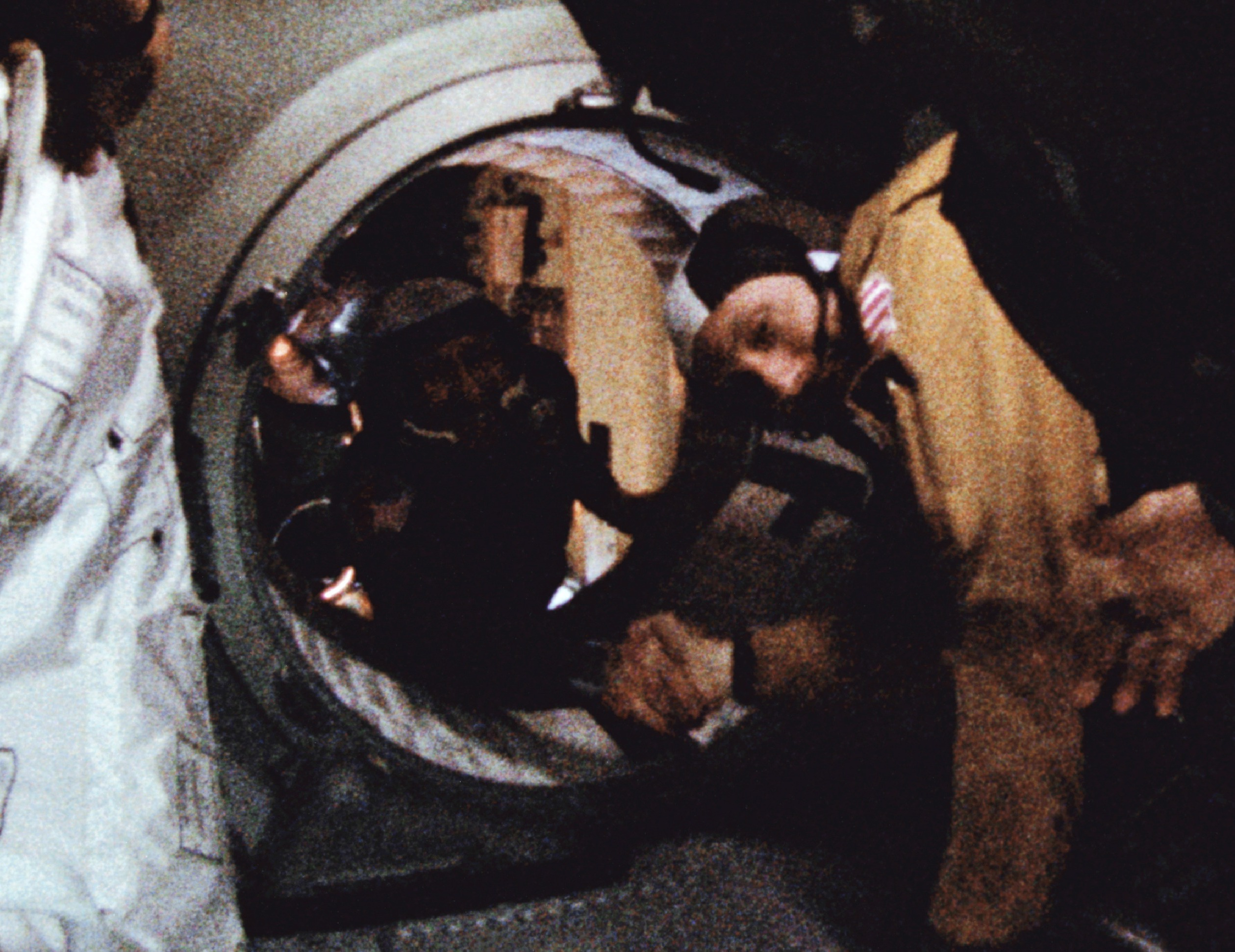 Astronaut Tom Stafford (in foreground) and cosmonaut Alexei Leonov make their historic handshake in space on July 17, 1975.