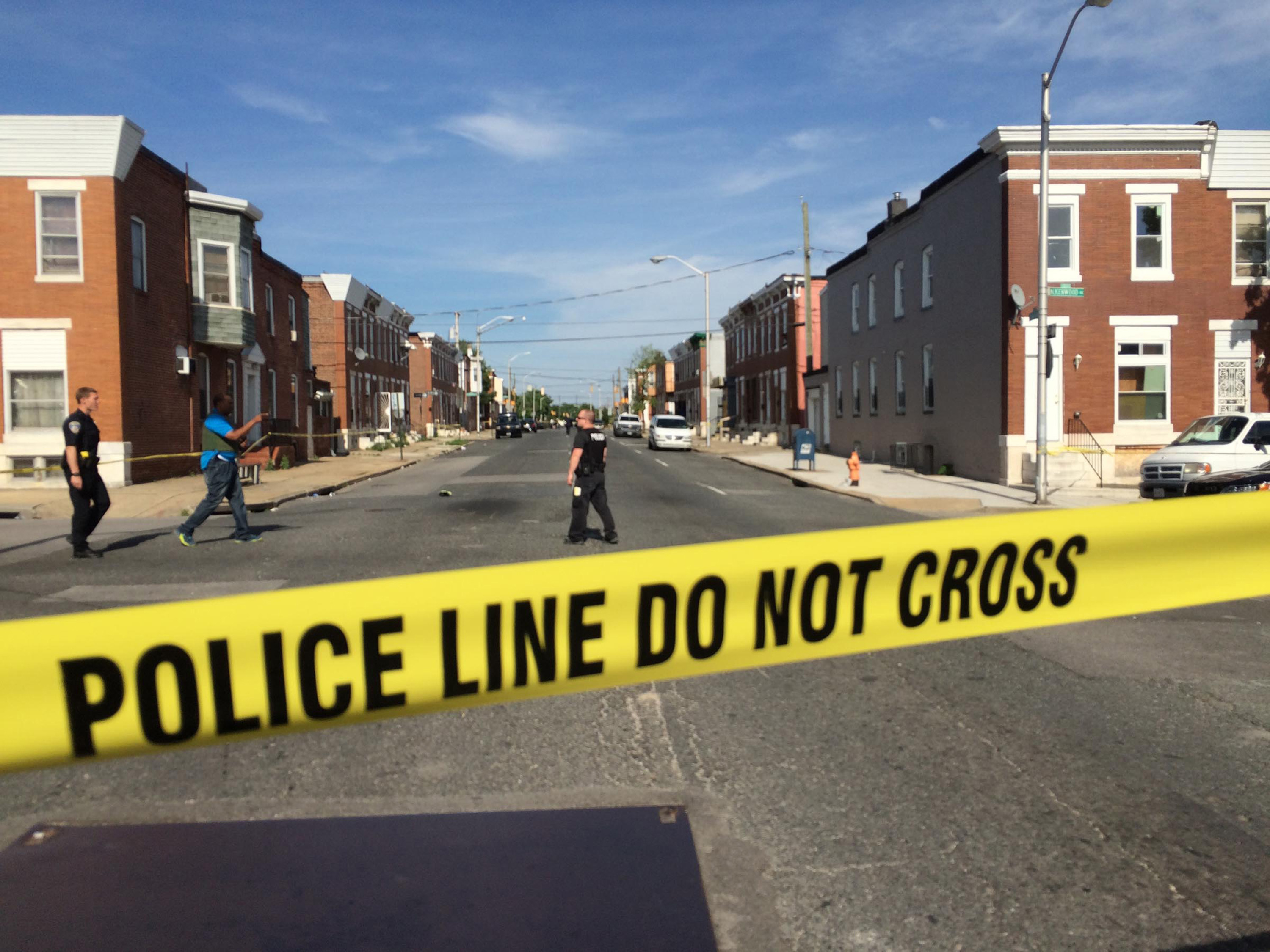 Madison Street is blocked by police due to a barricade situation on May 20, 2015 in Baltimore.