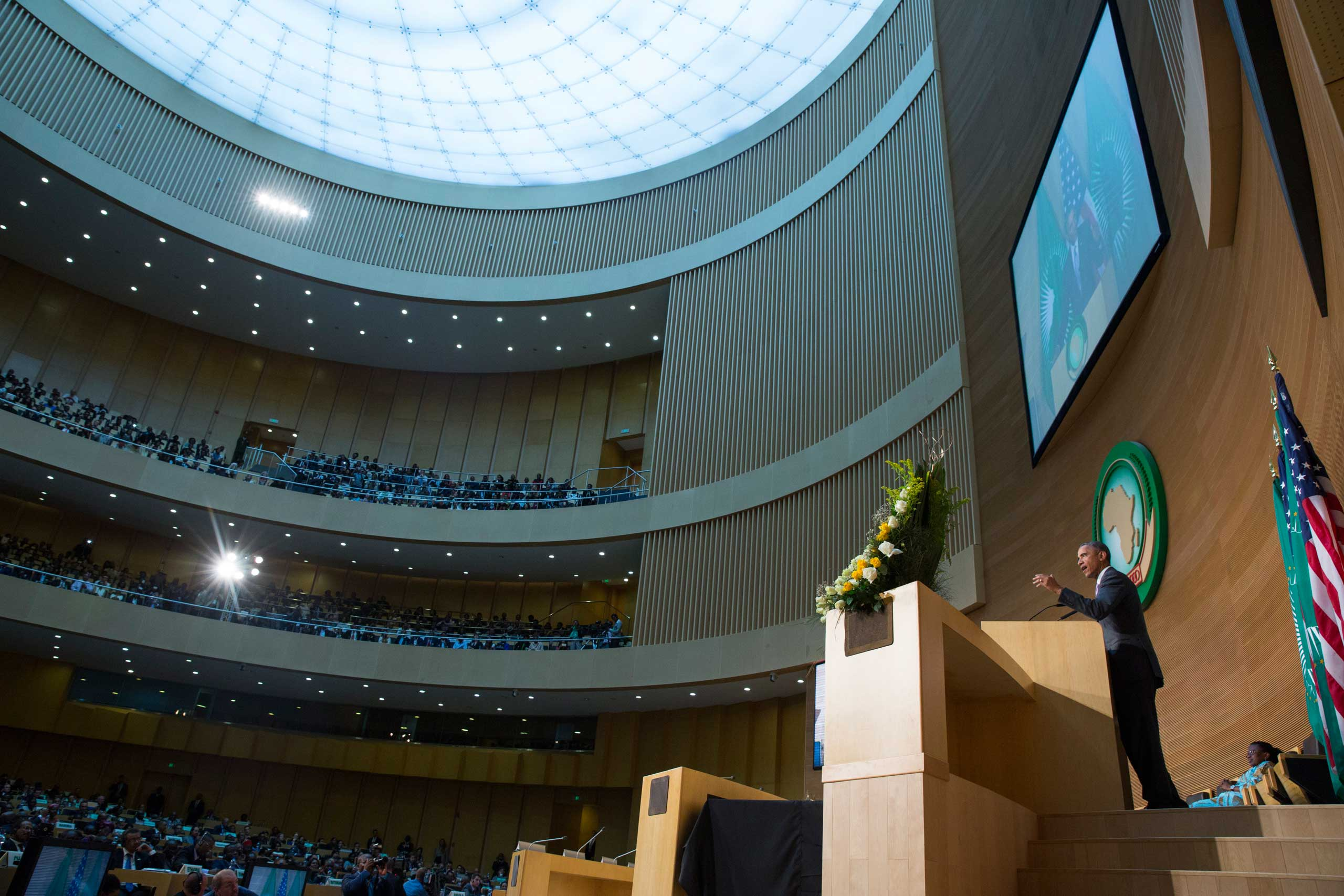 President Barack Obama delivers a speech to the African Union in Addis Ababa on July 28, 2015.