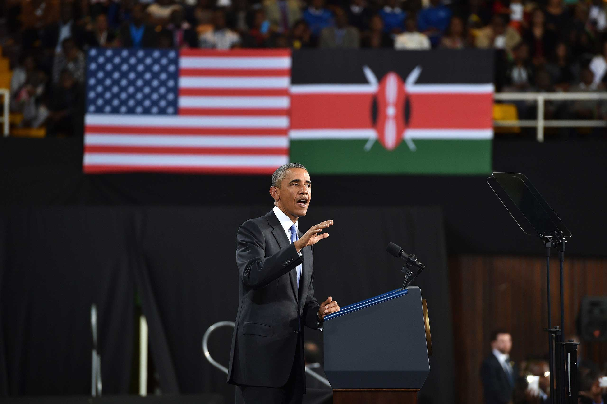President Barack Obama delivers a speech during at Safaricom Indoor Arena in Nairobi on July 26, 2015.