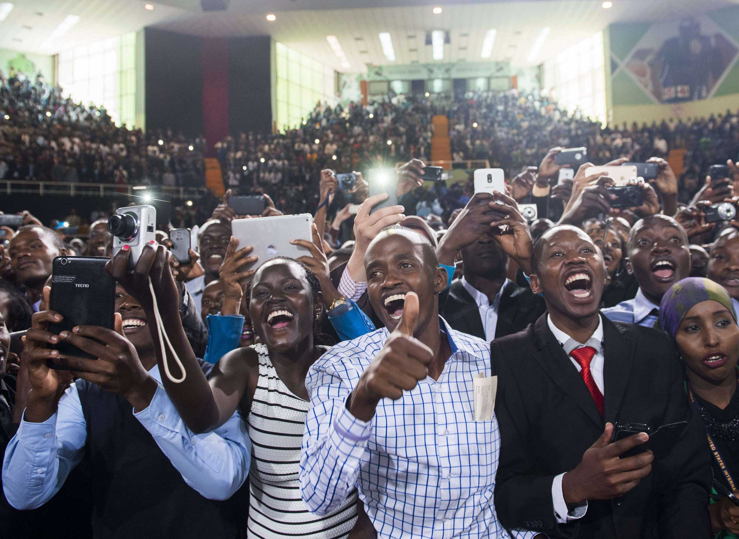 The crowd cheers as President Barack Obama arrives to speak at Safaricom Indoor Arena in Nairobi on July 26, 2015.