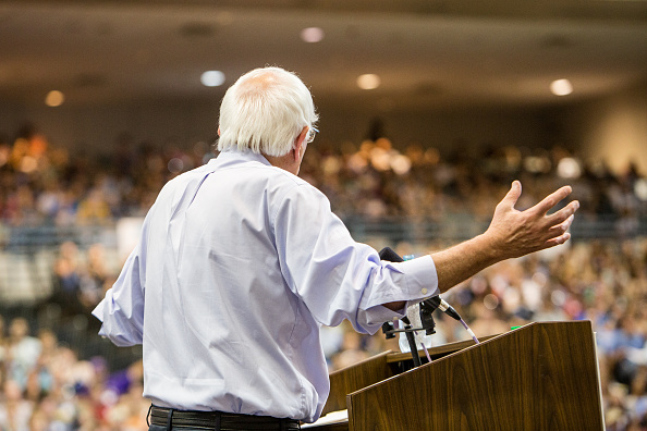 Democratic presidential candidate Senator Bernie Sanders (I-VT) speaks to guests at the Louisiana Rally with Bernie Sanders at Ponchartain Center on July 26, 2015 in Kenner, Louisiana.