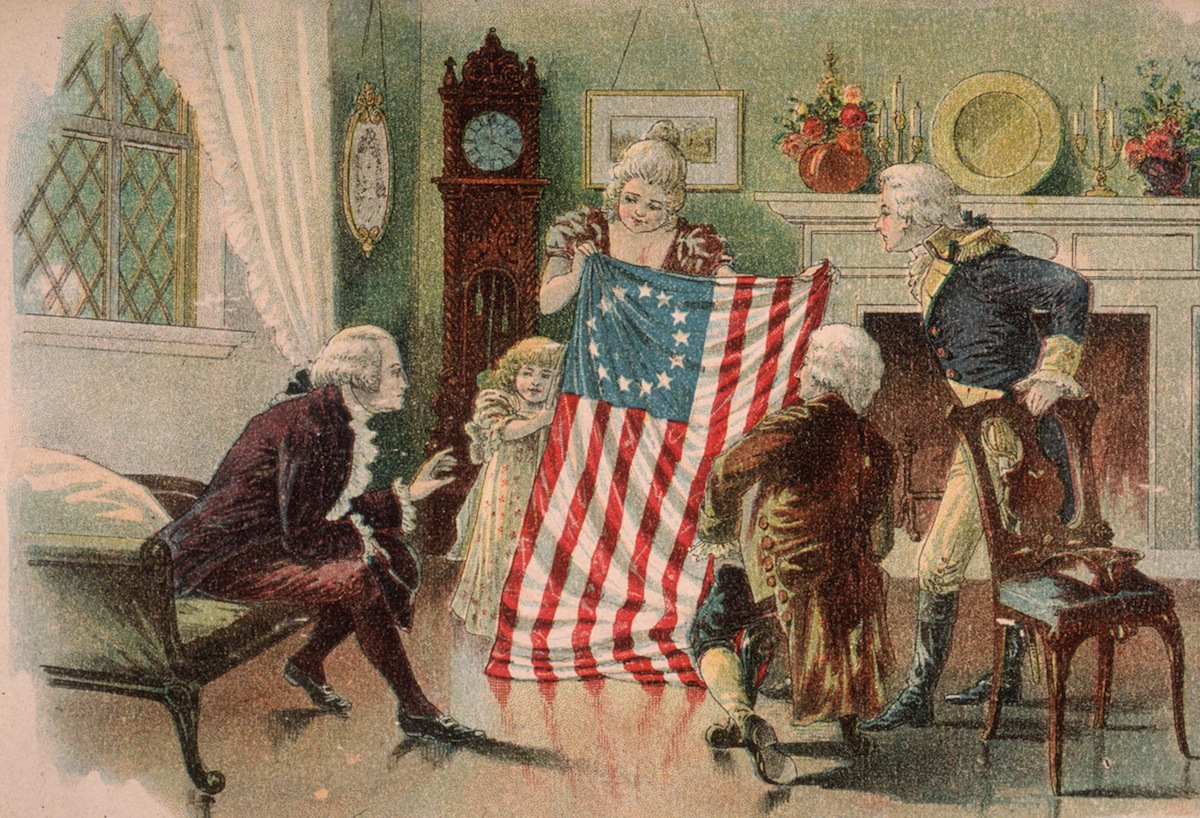 An illustration of American seamstress Betsy Ross showing the first design of the American flag to George Washington in Philadelphia