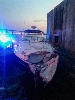 37-foot Sea Ray Sundancer after colliding with a barrier at the Francis Scott Key Bridge in Baltimore on July 27, 2015.