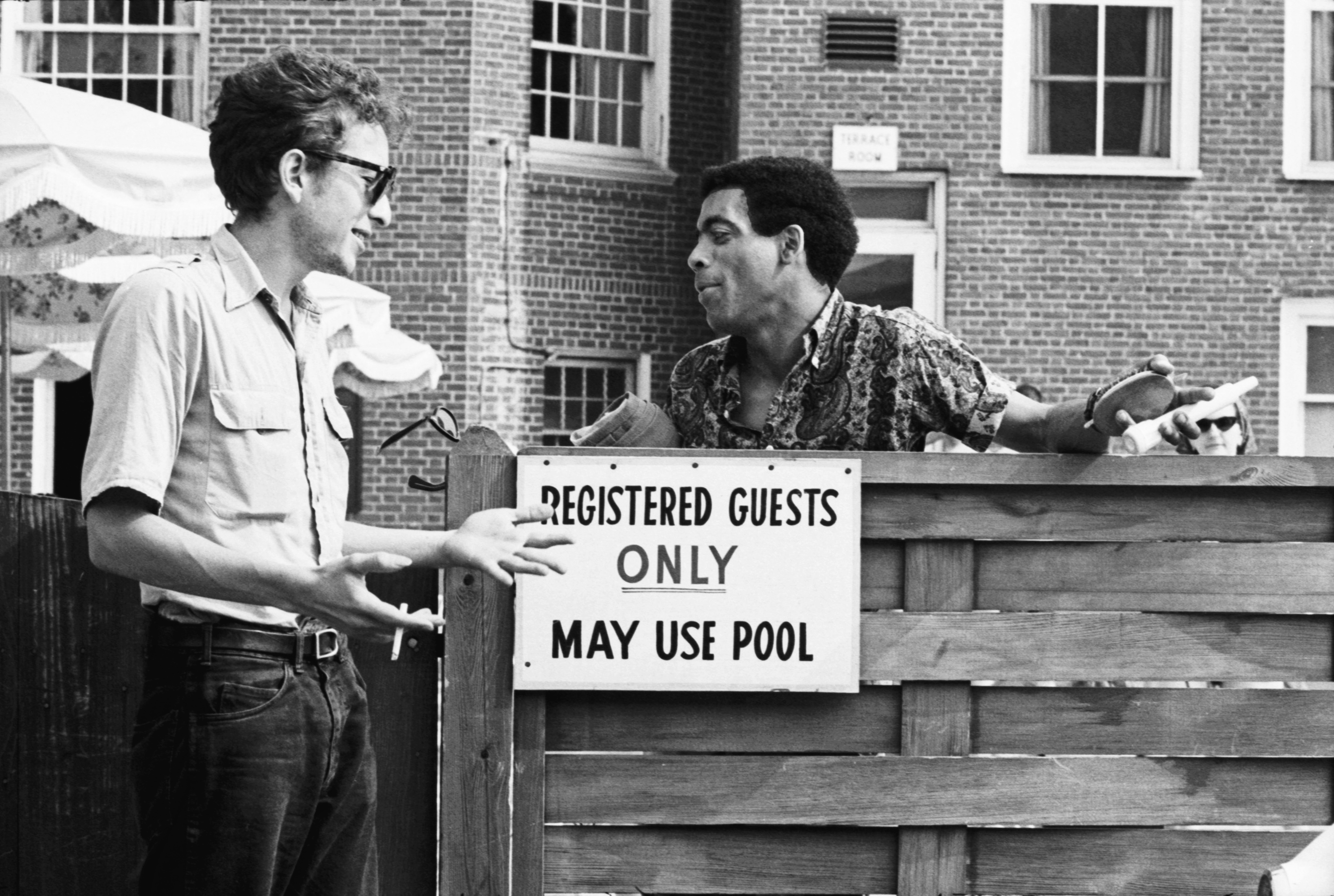Dylan and Bill Lee re-create southern segregation at the Viking Hotel.