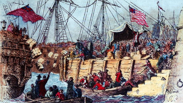 The Boston Boys throwing tea from English ships into Boston harbor in historic tax protest (a.k.a. the Boston Tea Party).