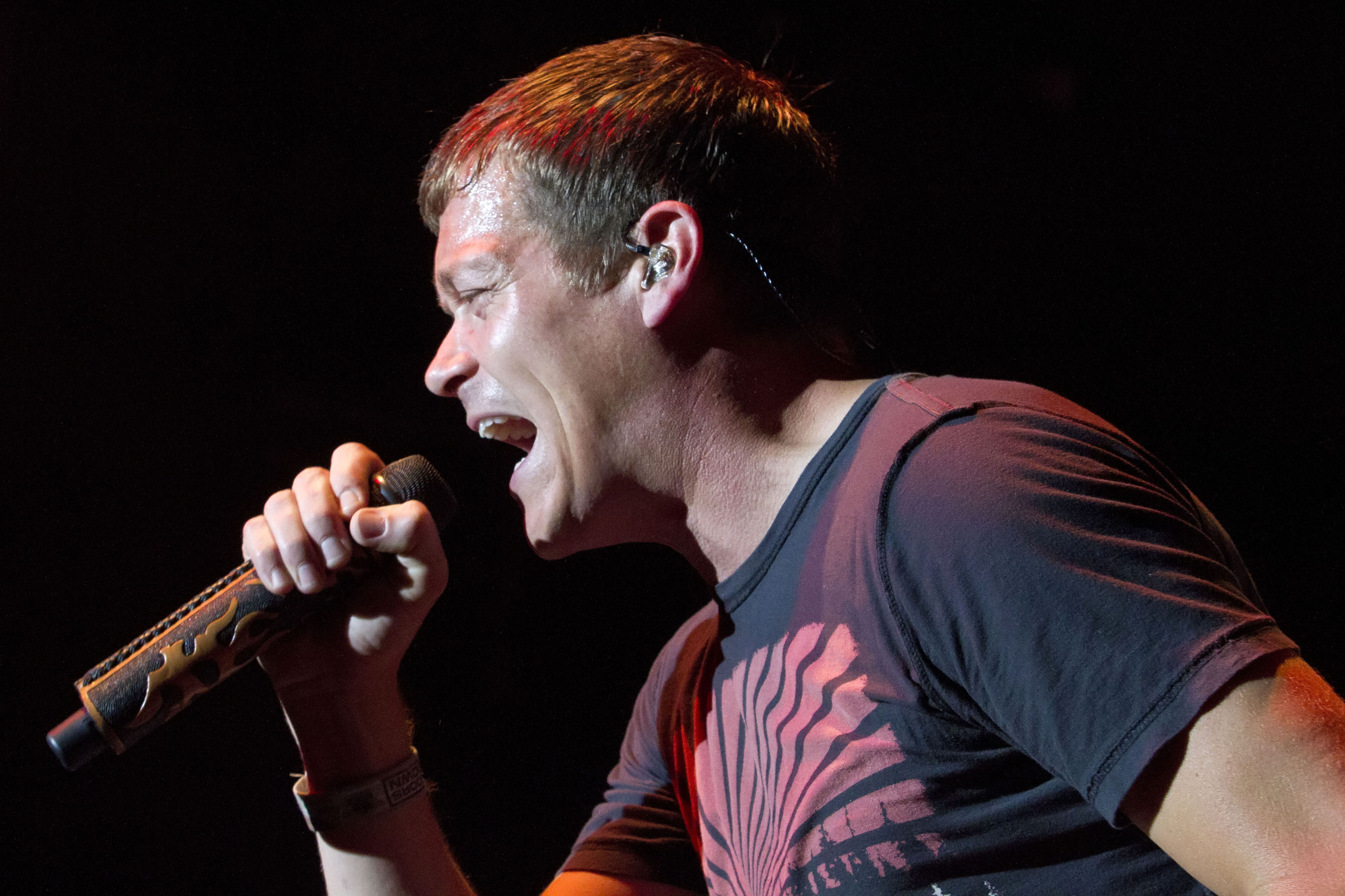 Singer Brad Arnold of 3 Doors Down performs live during a concert at the Columbiahalle on June 11, 2013 in Berlin, Germany.