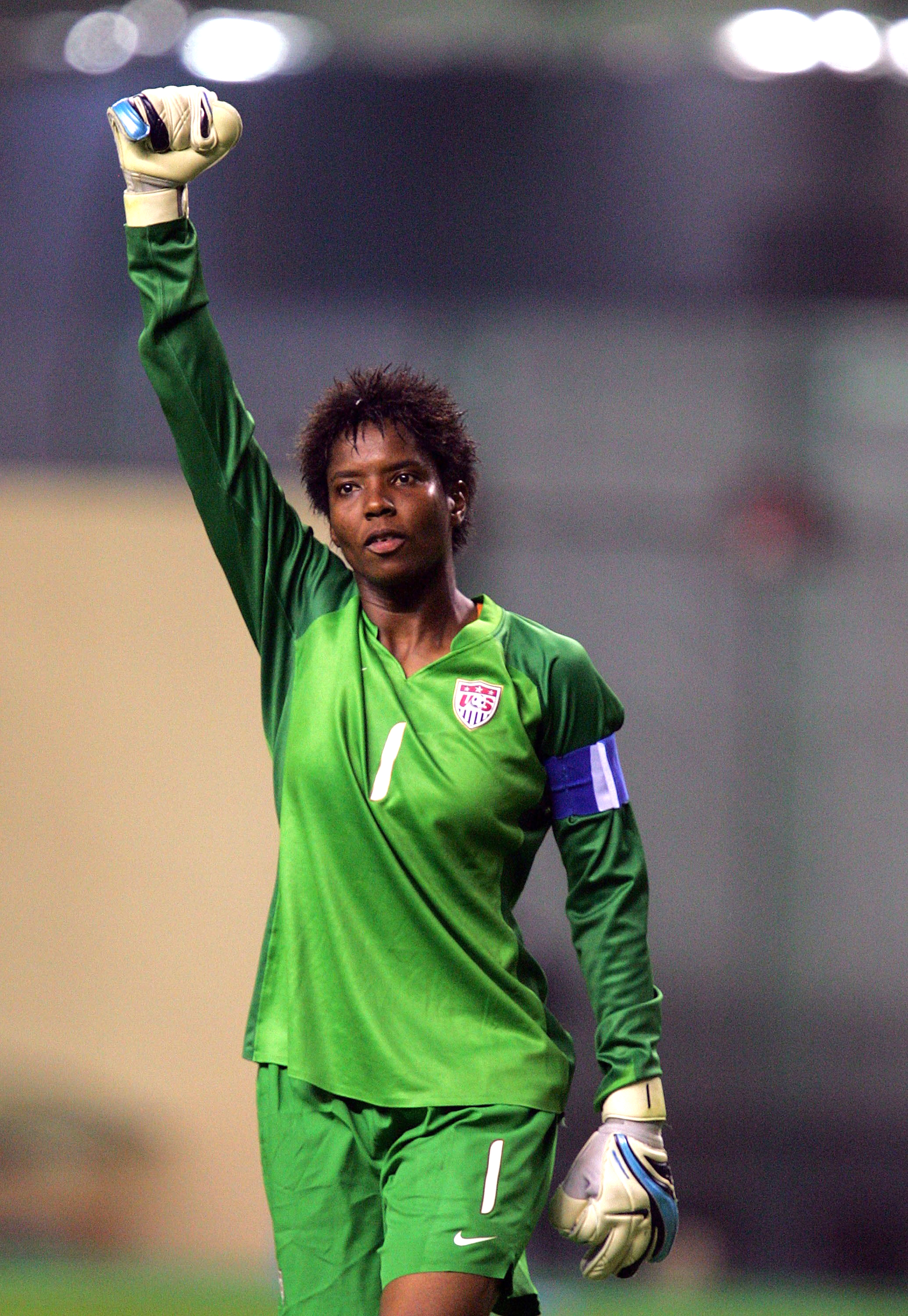 U.S. Goalkeeper Briana Scurry acknowledges the crowd after her team's 4-1 win against Norway at Hongkou Stadium in Shanghai on September 30, 2007.