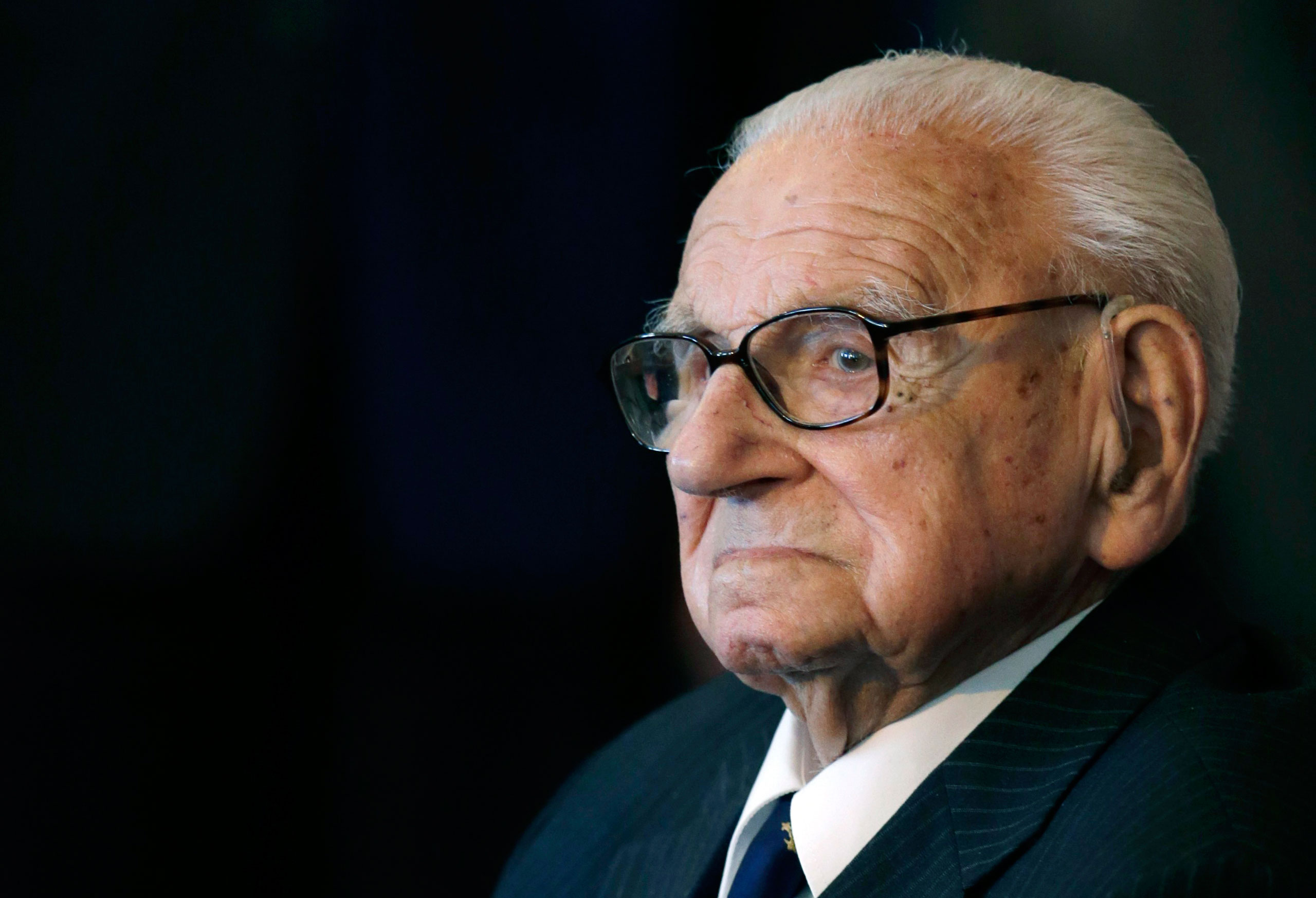 The then 105 year-old Sir Nicholas Winton waiting to be decorated with the highest Czech Republic's decoration, The Order of the White Lion at the Prague Castle in Prague, on Oct. 28, 2014.