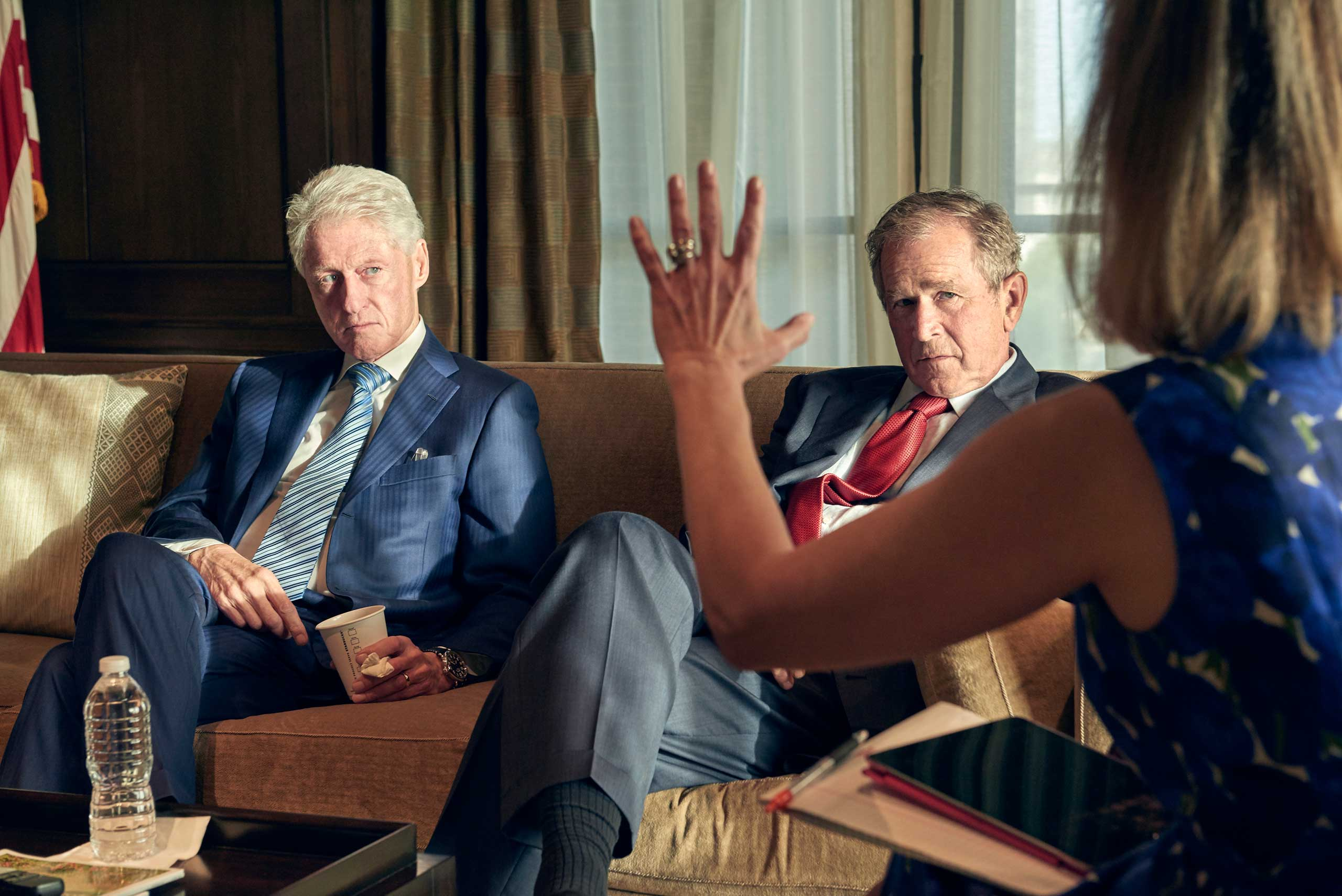 Former presidents Bill Clinton and George W. Bush in discussion with  TIME's editor Nancy Gibbs