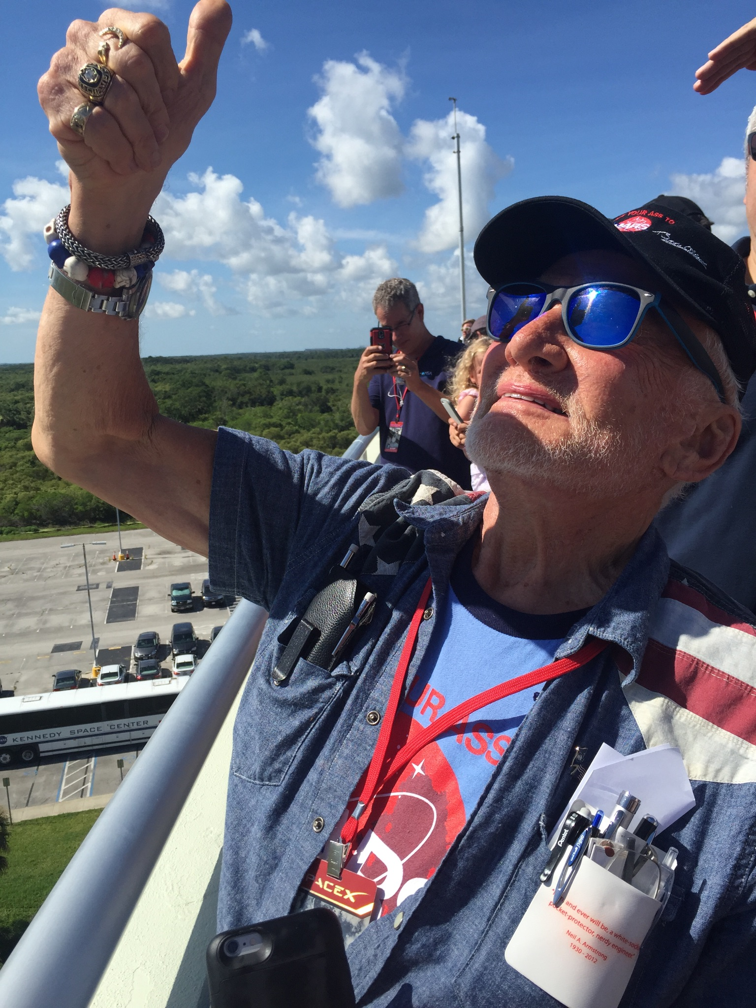 Dr. Buzz Aldrin watches the Spacex Falcon 9 rocket launch on June 28, 2015  at the Kennedy Space Center in Florida.