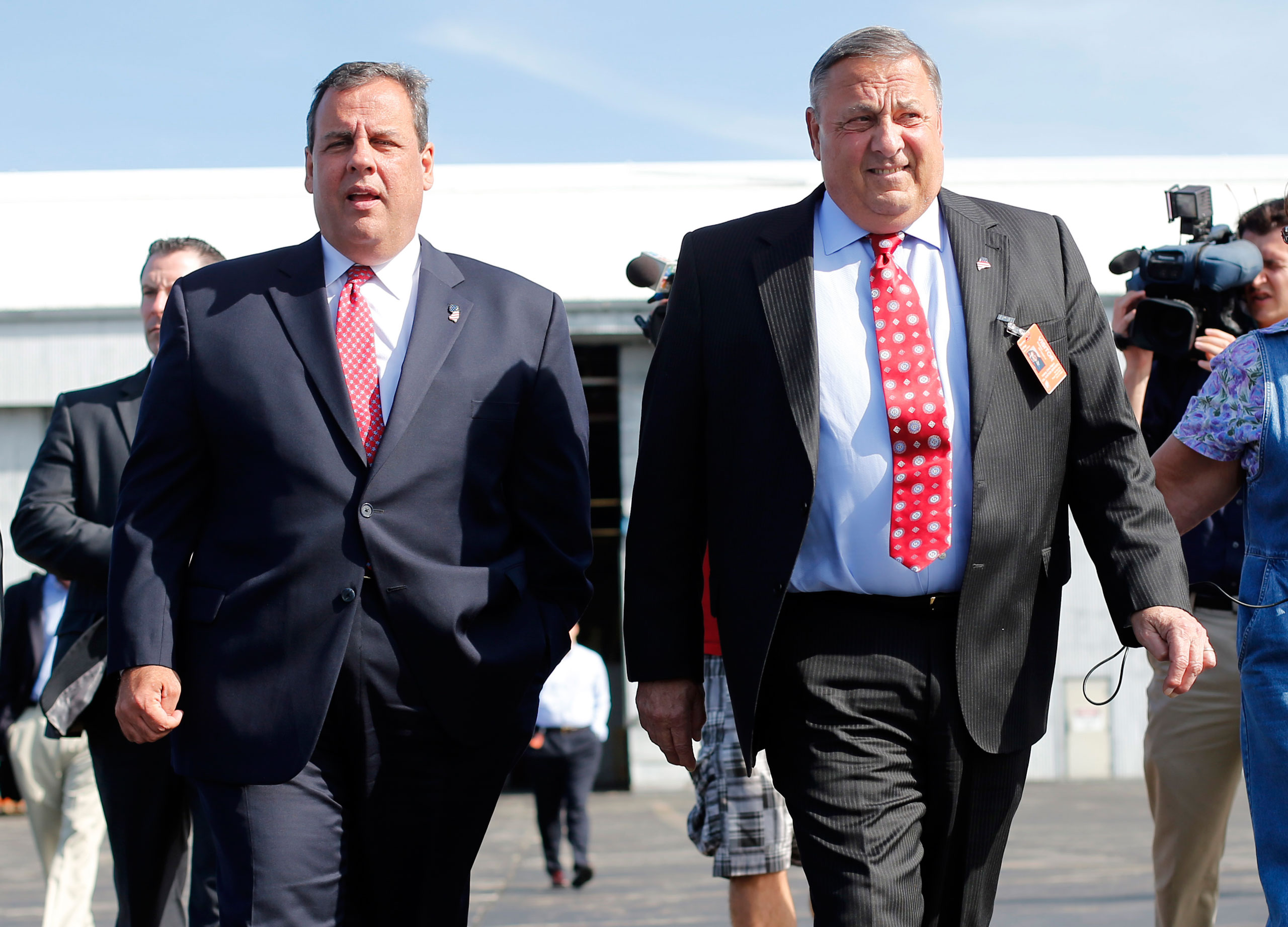 New Jersey Gov. Chris Christie, left, and Maine Gov. Paul LePage in Bangor, Maine, on, Aug. 12, 2014.
