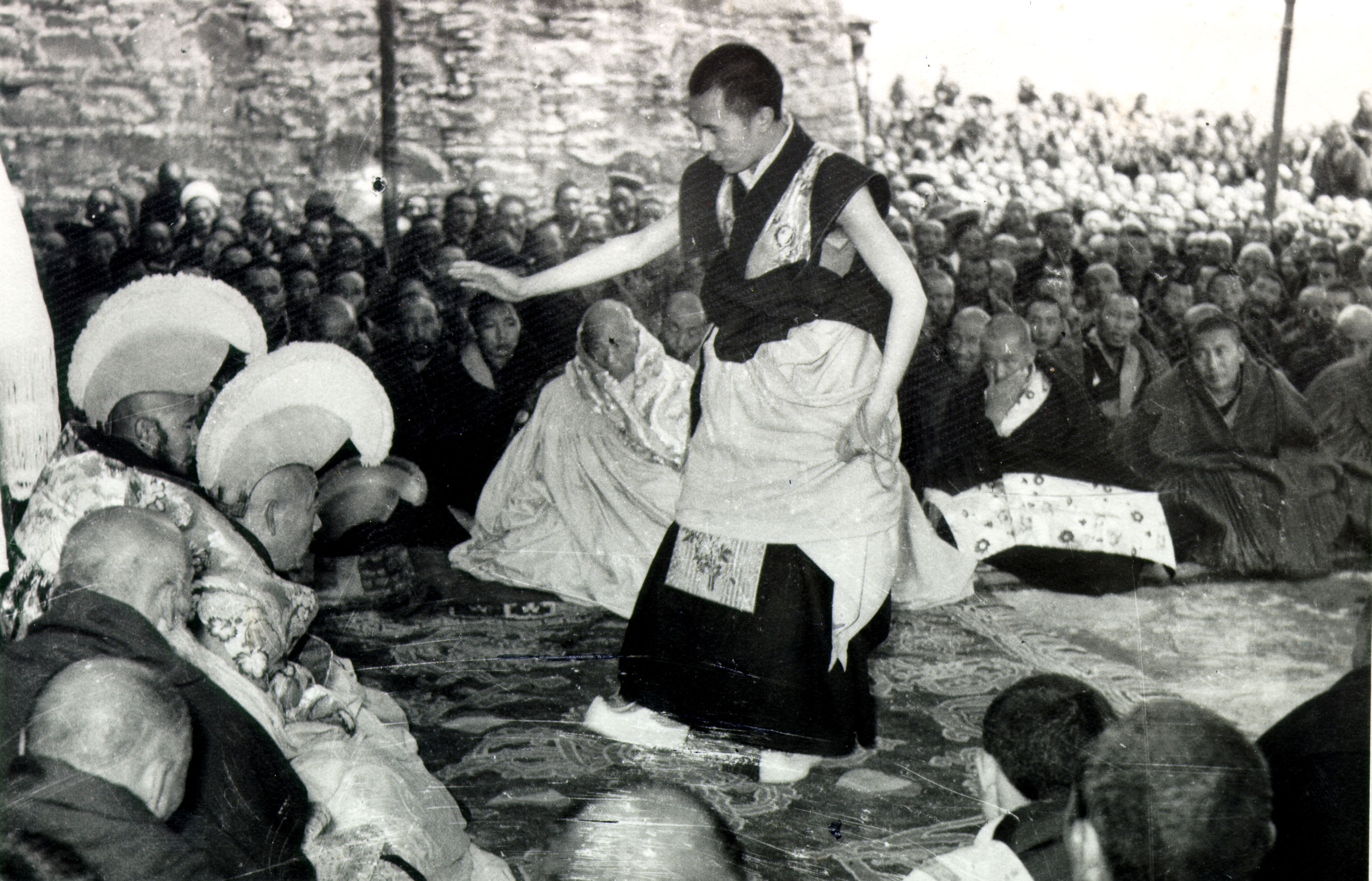 His Holiness at age 23 during his final Geshe Lharampa examinations in Lhasa, Tibet which took place from the summer of 1958 to February 1959.