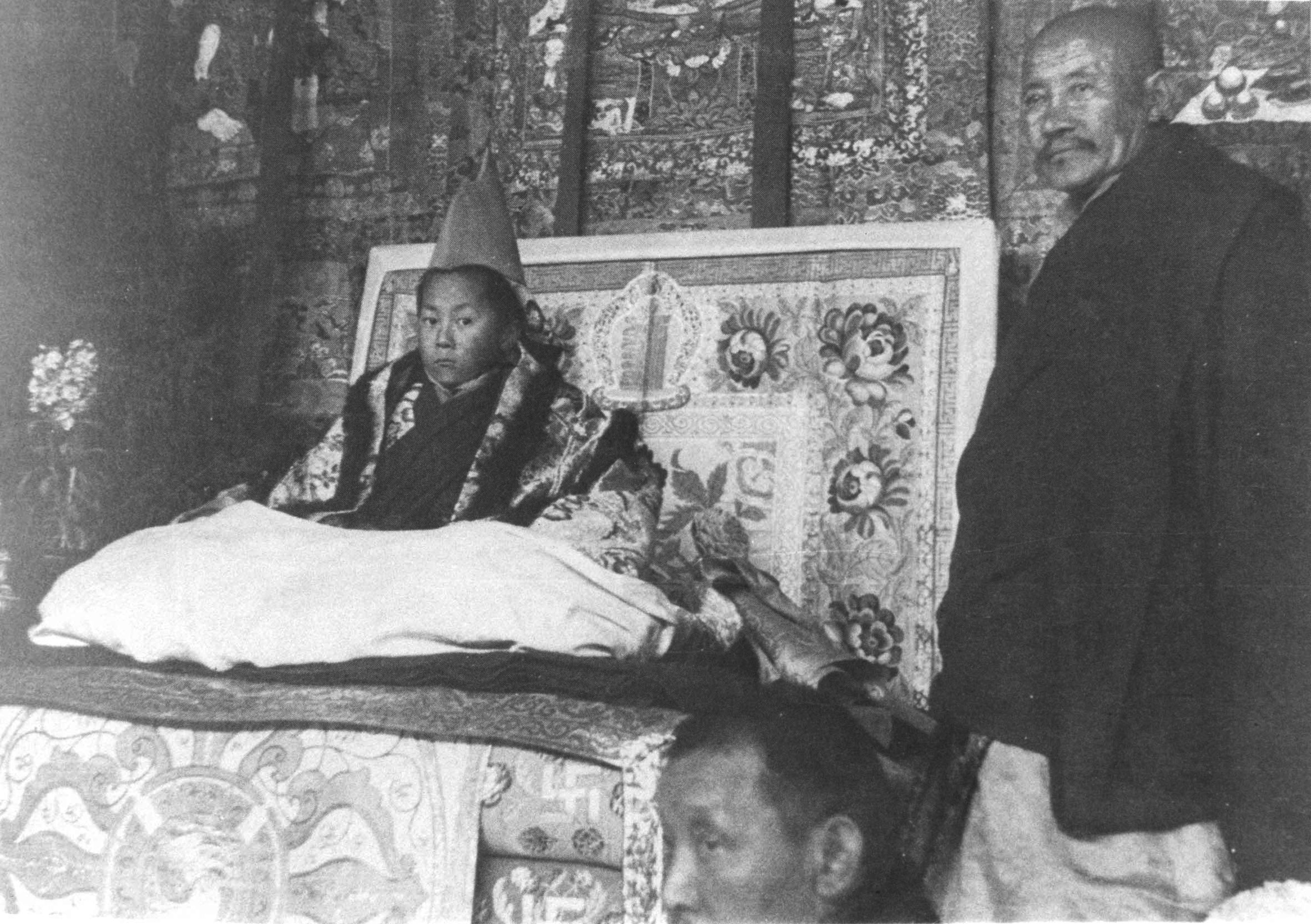 His Holiness at age 5 sitting on the throne during his official enthronement ceremony on Feb. 22, 1940 in Lhasa, Tibet as he was appointed spiritual leadership.