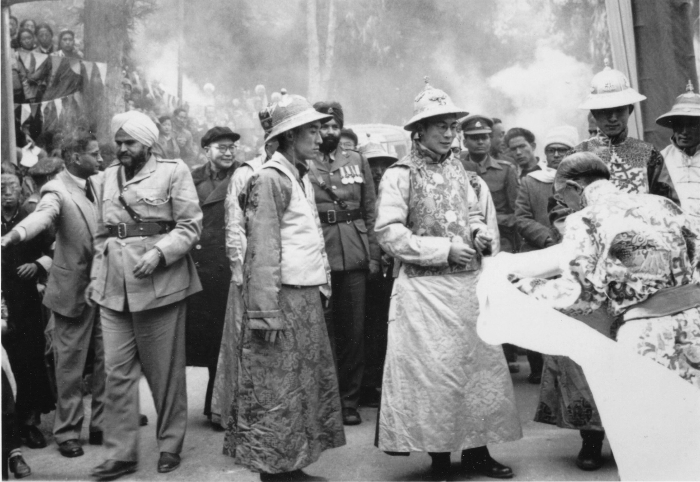 His Holiness at age 21 being received by the Chogyal of Sikkim, Gangtok, India in 1956