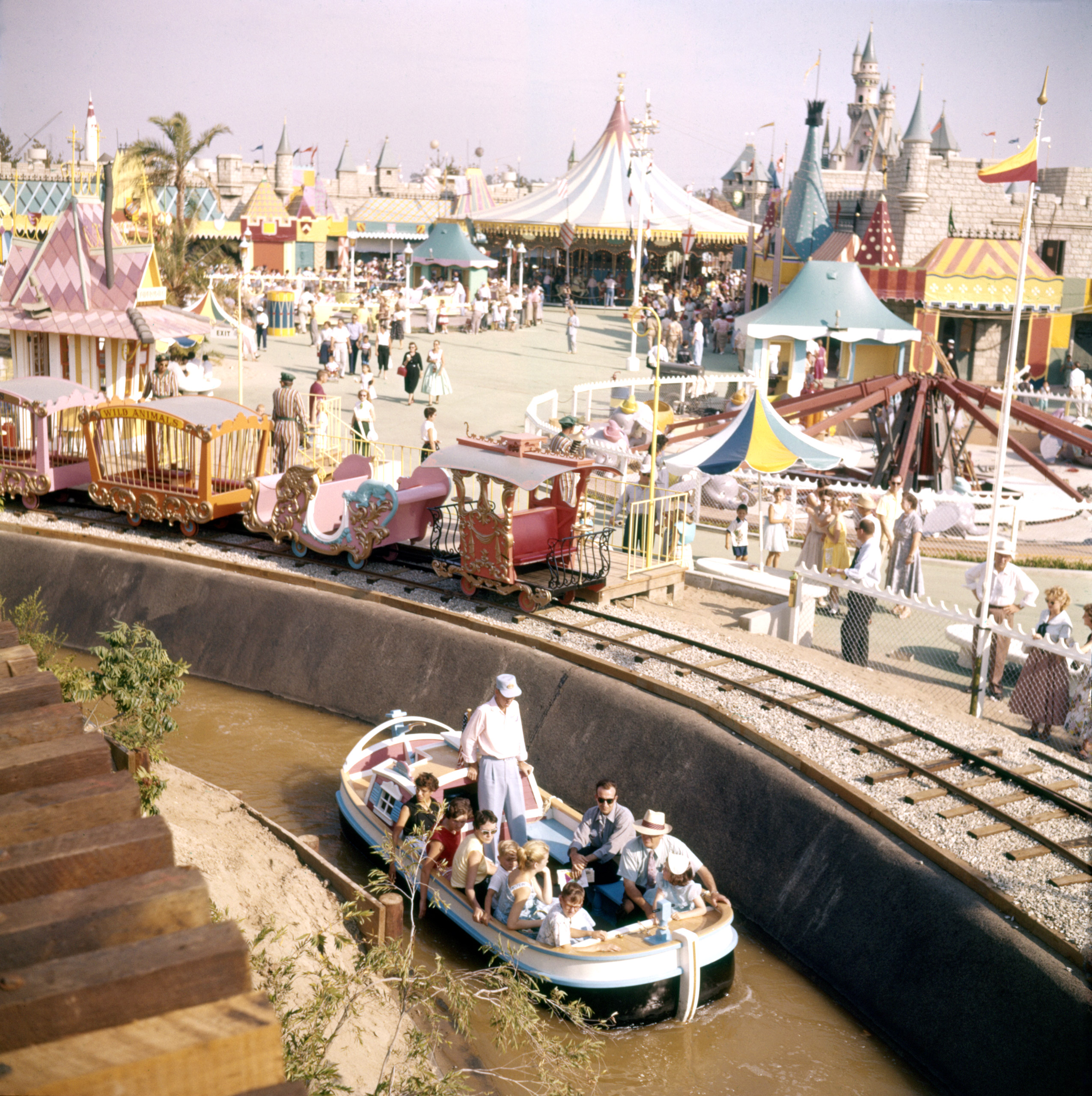 One of Disneyland's boat rides, Anaheim, California, 1955.