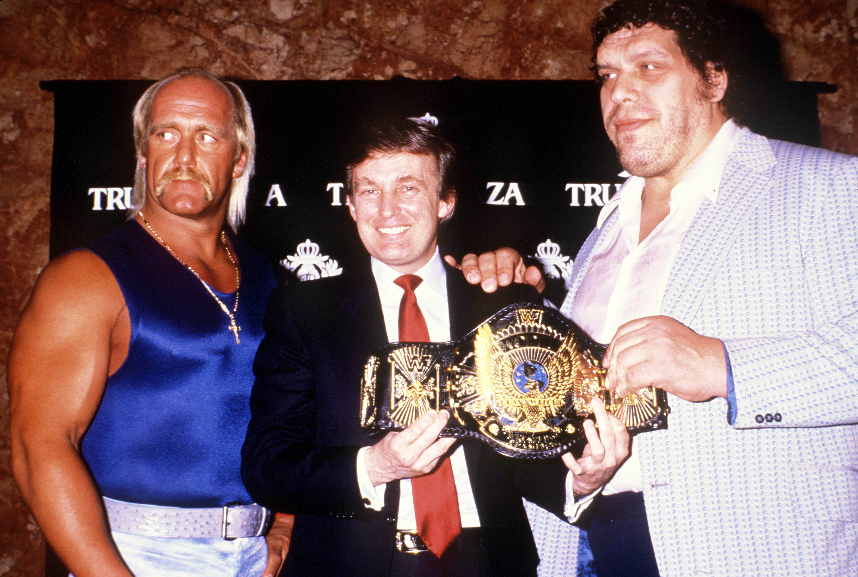 Professional Wrestler Hulk Hogan and Andre the Giant With Donald Trump.