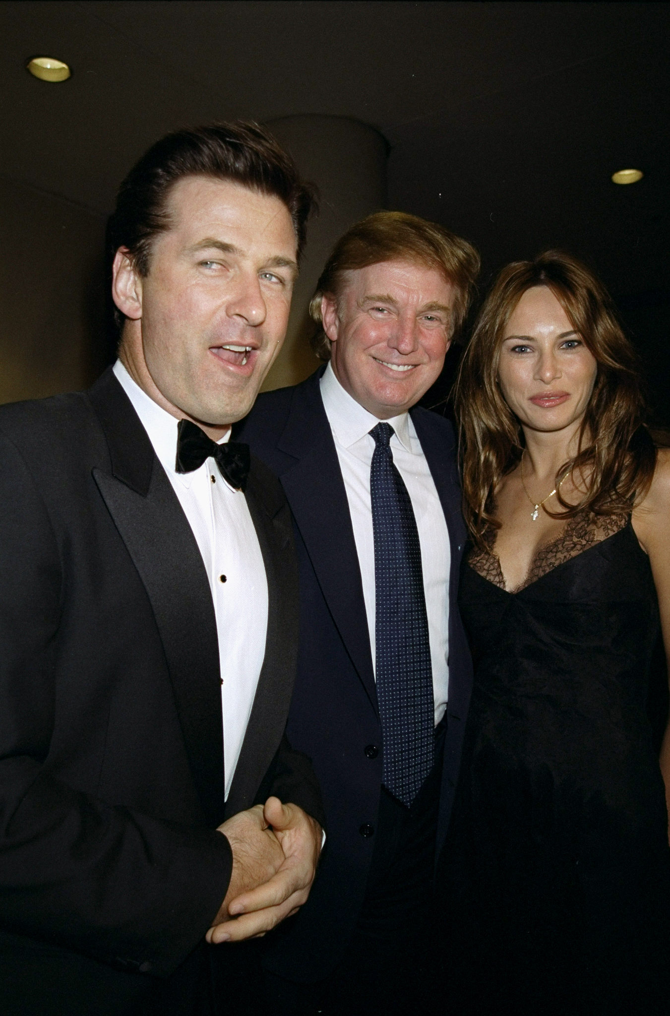 Alec Baldwin is joined by Donald Trump and Melania Knauss at benefit for the Carol M. Baldwin Breast Cancer Research Fund at the Marriott Marquis Hotel on October 8, 1999.