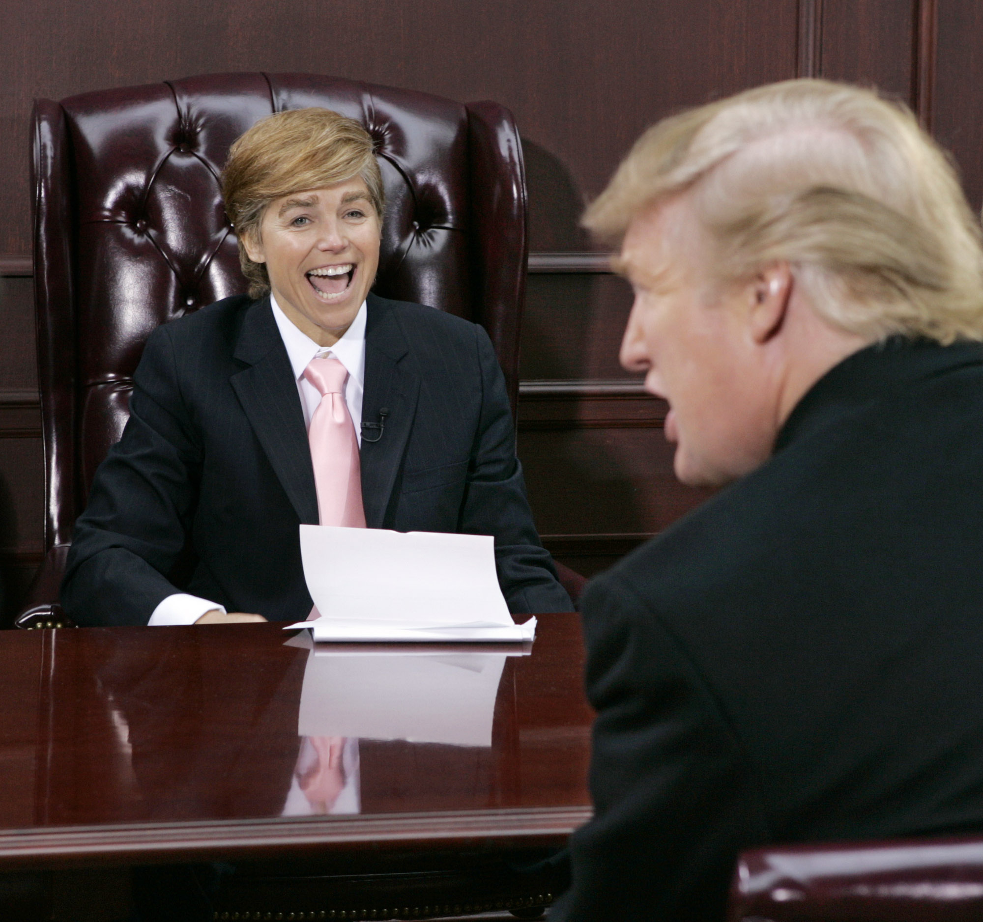 "Katie Couric, left, co-host of NBC-TV's ""Today"" show, is dressed like Donald Trump, right, during a spoof of his ""The Apprentice"" reality television show, on  the morning program's annual Halloween segment on Oct. 29, 2004."