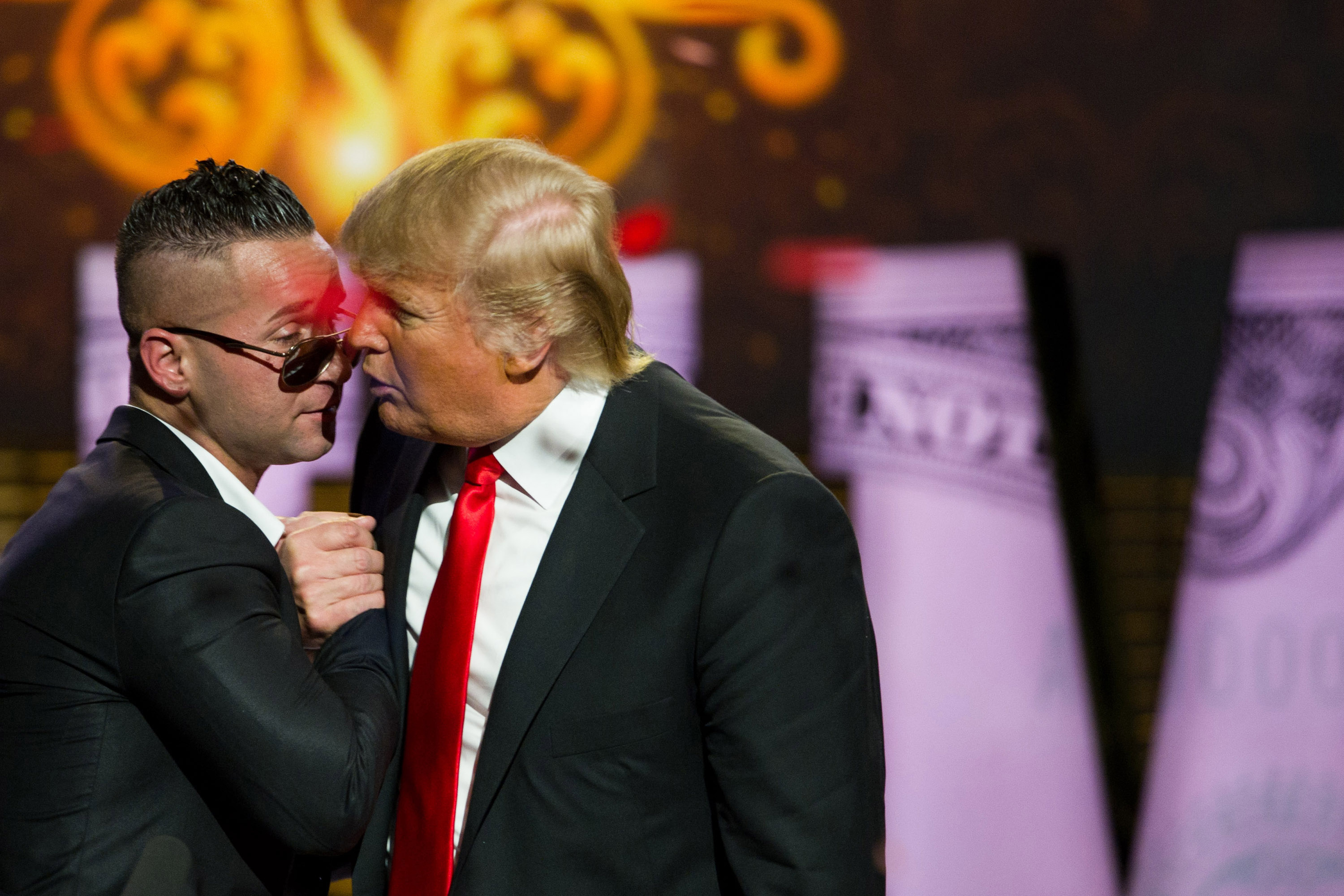 "Mike ""The Situation"" Sorrentino, left, and Donald Trump appear onstage at the Comedy Central Roast of Donald Trump in New York on March 9, 2011."