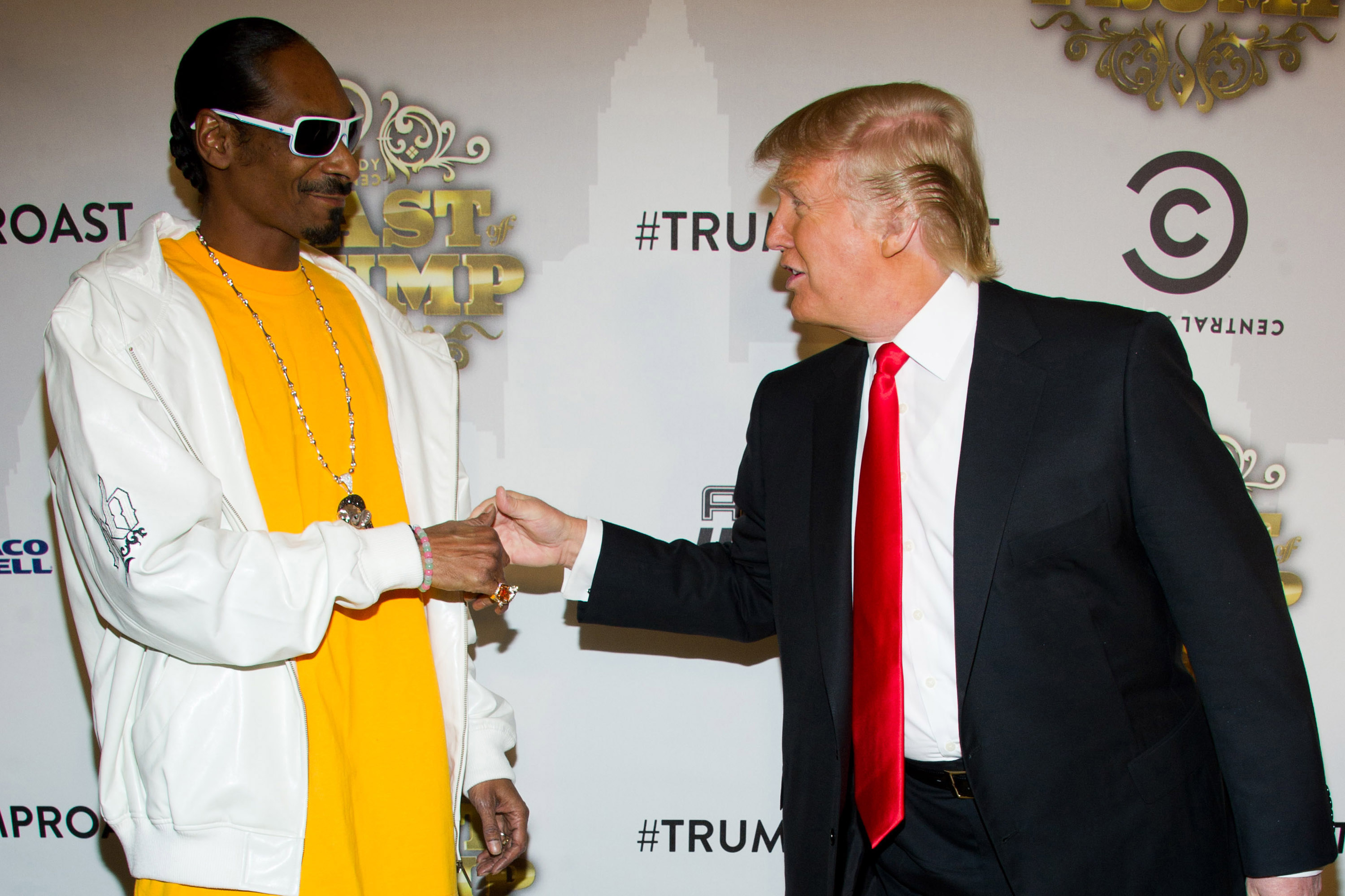 Snoop Dogg and Donald Trump arrive at the Comedy Central Roast of Donald Trump in New York on March 9, 2011.