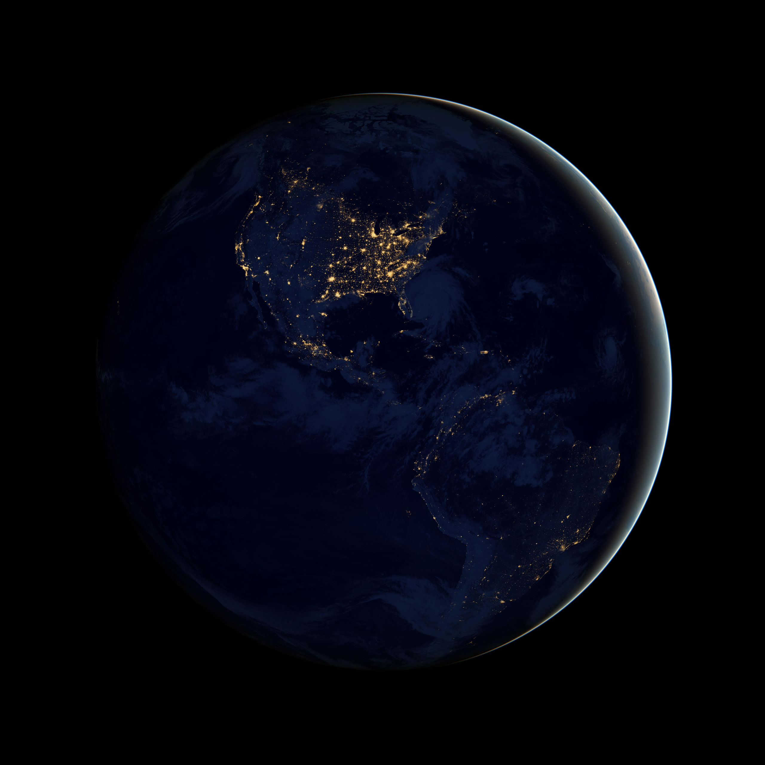Known as the  Black Marble , this image of North and South America at night is a composite assembled from data acquired by the Suomi NPP satellite in April and October 2012.