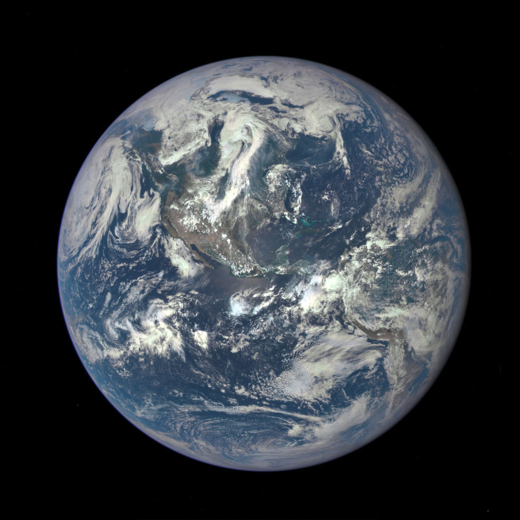The newest  Blue Marble , Earth seen from a distance of one million miles captured by a NASA scientific camera aboard the Deep Space Climate Observatory (DSCOVR) spacecraft on July 6, 2015.