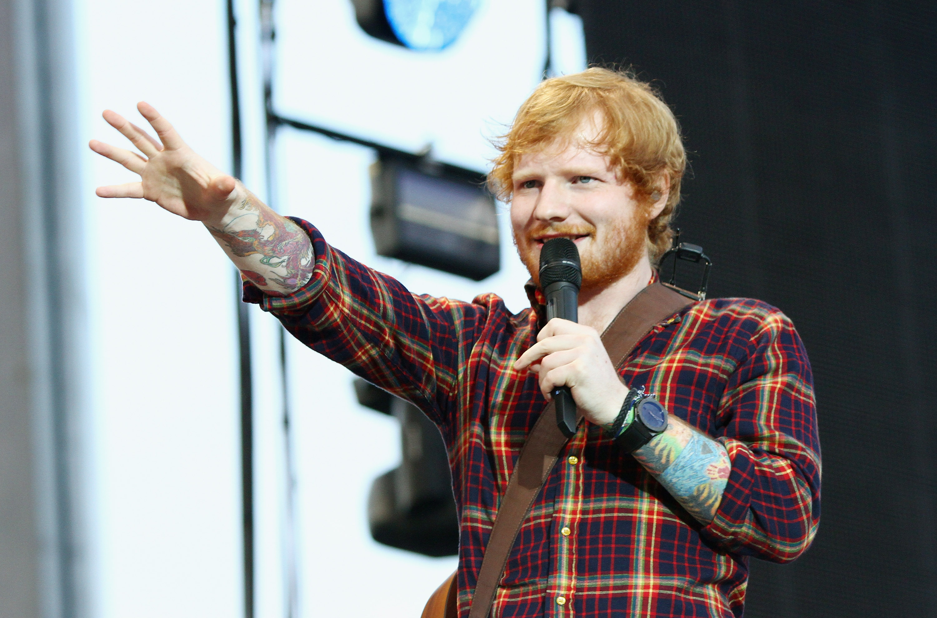 Ed Sheeran performs at Croke Park on July 24, 2015 in Dublin, Ireland.