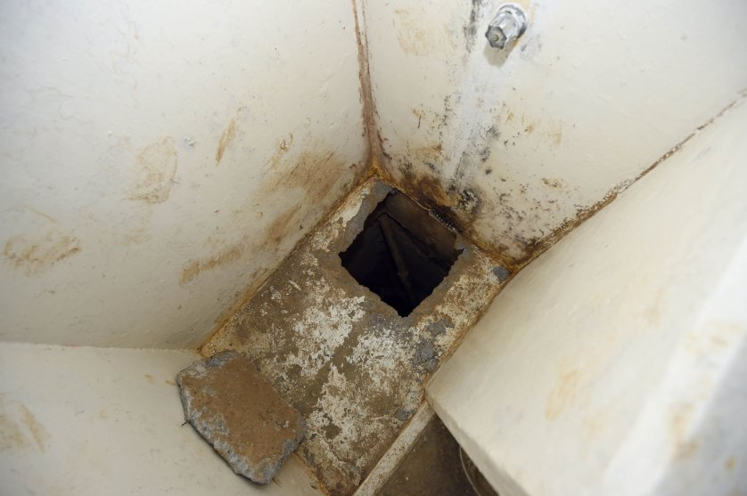 "View of the shower in the Almoloya prison where Joaquin Guzman Loera ""El Chapo Guzman"" was and from which he escaped through a tunnel, on July 15, 2015 in Almoloya de Juarez, Mexico. Mexico's government released a video Tuesday showing the moment that Guzman goes into his prison cell's shower before disappearing. AFP PHOTO/ ALFREDO ESTRELLAALFREDO ESTRELLA/AFP/Getty Images"