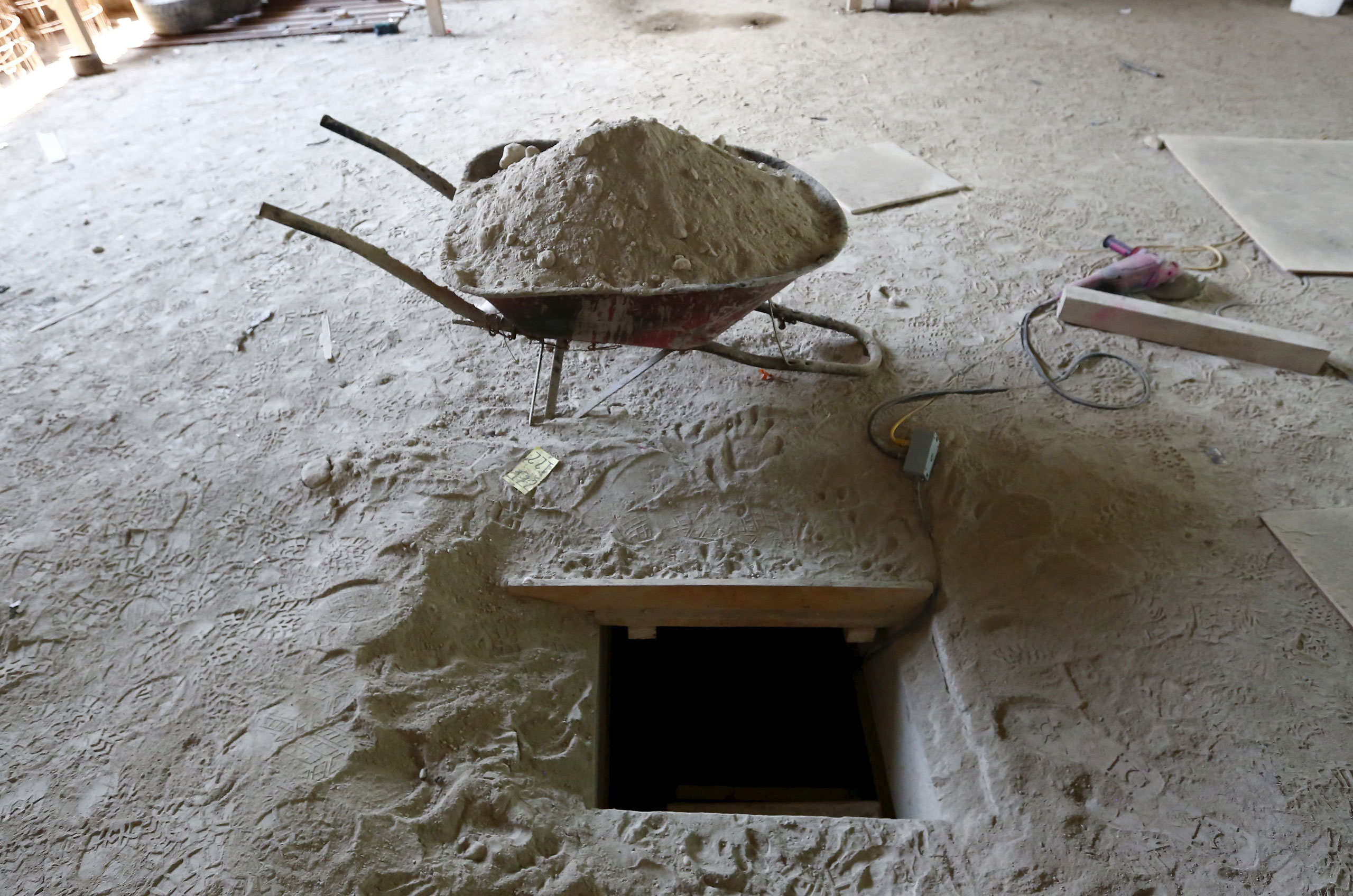 The entrance of a tunnel connected to the Altiplano Federal Penitentiary and used by drug lord Joaquin 'El Chapo' Guzman to escape, is seen in Almoloya de Juarez, Mexico, on July 15, 2015.