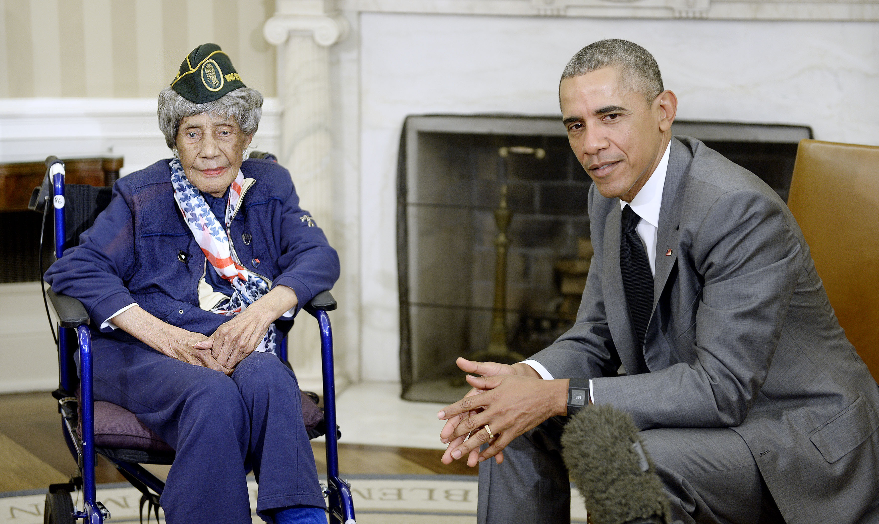 U.S. President Barack Obama meets with the oldest living veteran, 110-year-old Emma Didlake, in the Oval Office of the White House on July 17, 2015 in Washington, D.C.