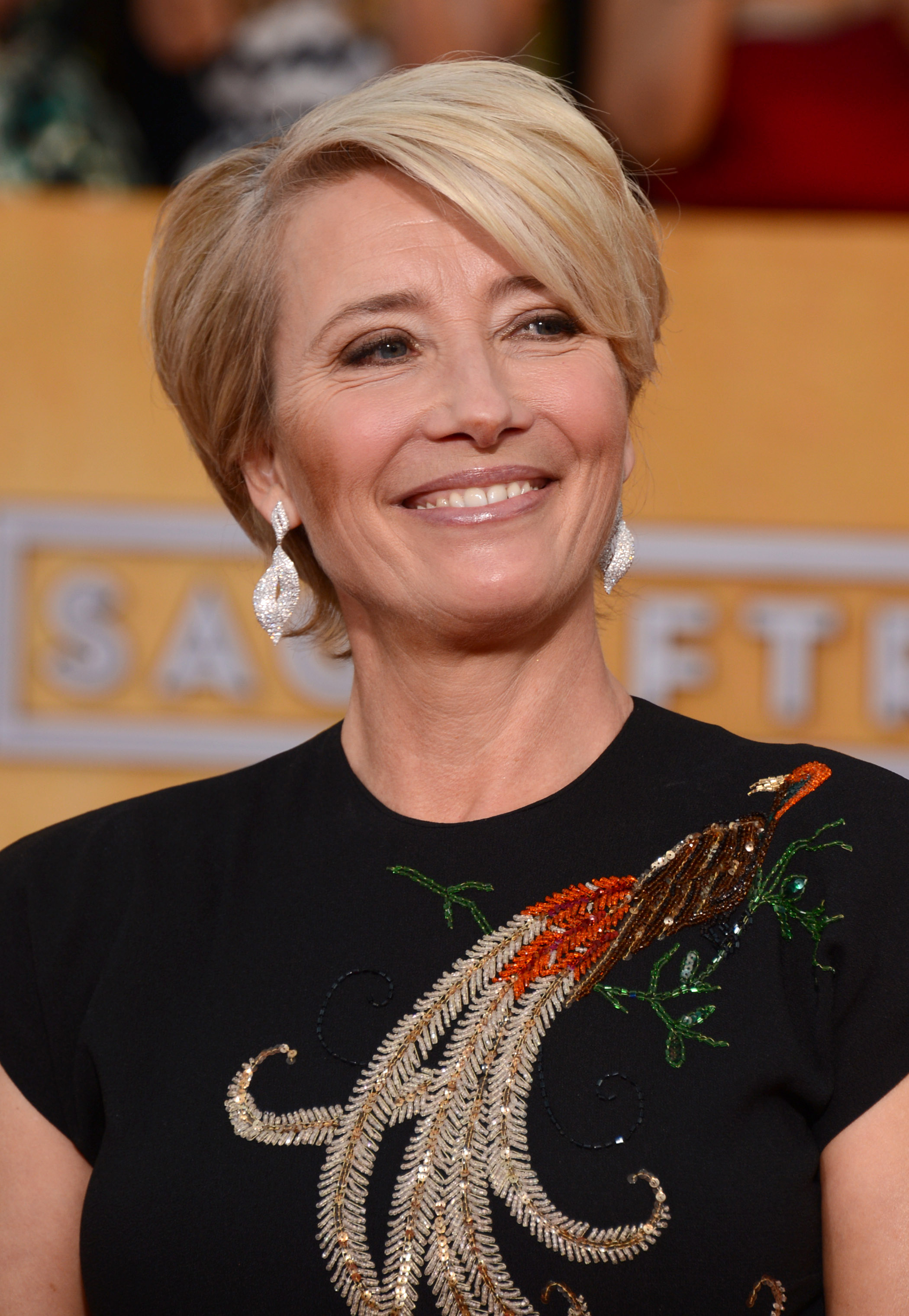 Emma Thompson arrives at the 20th annual Screen Actors Guild Awards at the Shrine Auditorium on Jan. 18, 2014, in Los Angeles.