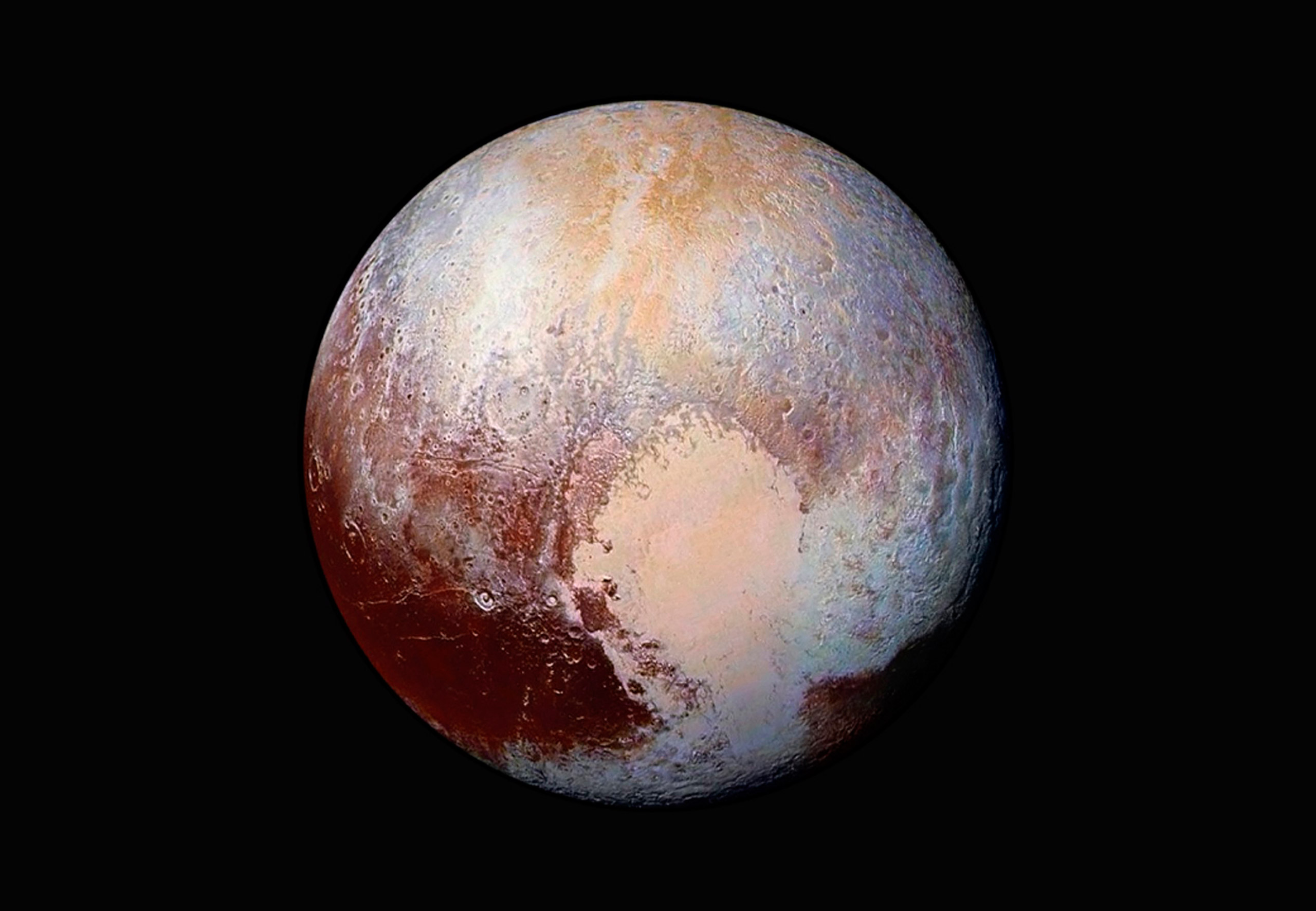An enhanced color global view of pluto released on July 24, 2015.