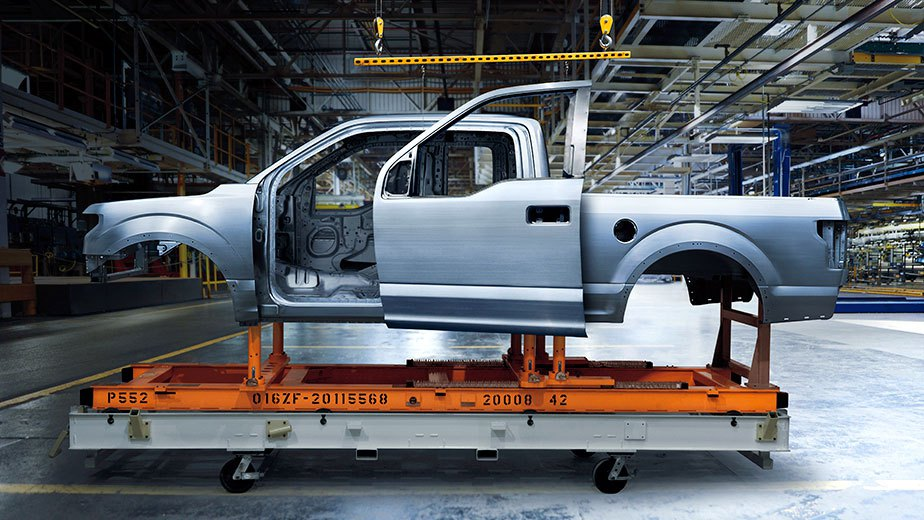 The aluminum body of a 2015 Ford F-150.
