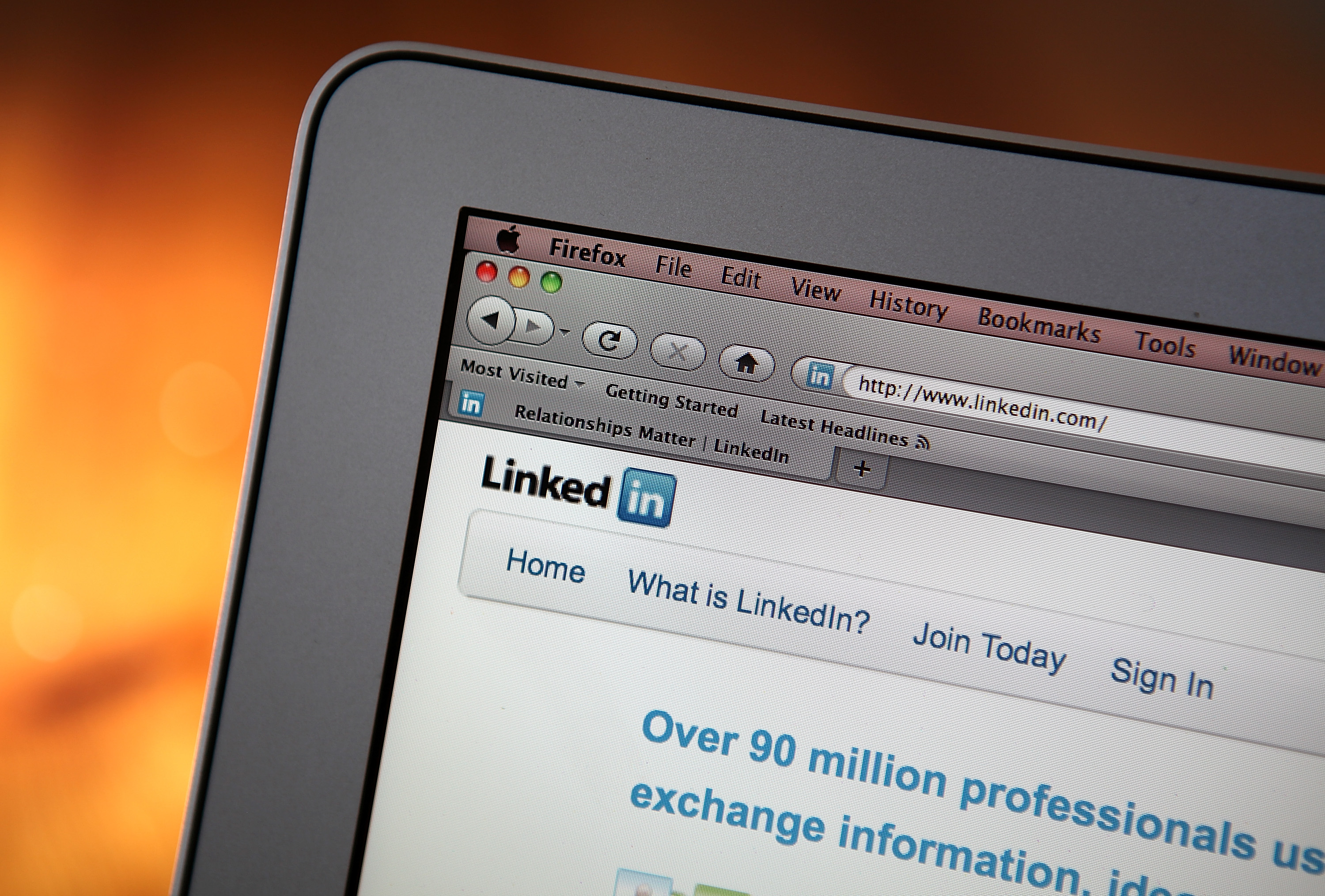 In this photo illustration, the LinkedIn logo is displayed on the screen of a laptop computer on January 27, 2011 in San Anselmo, California.