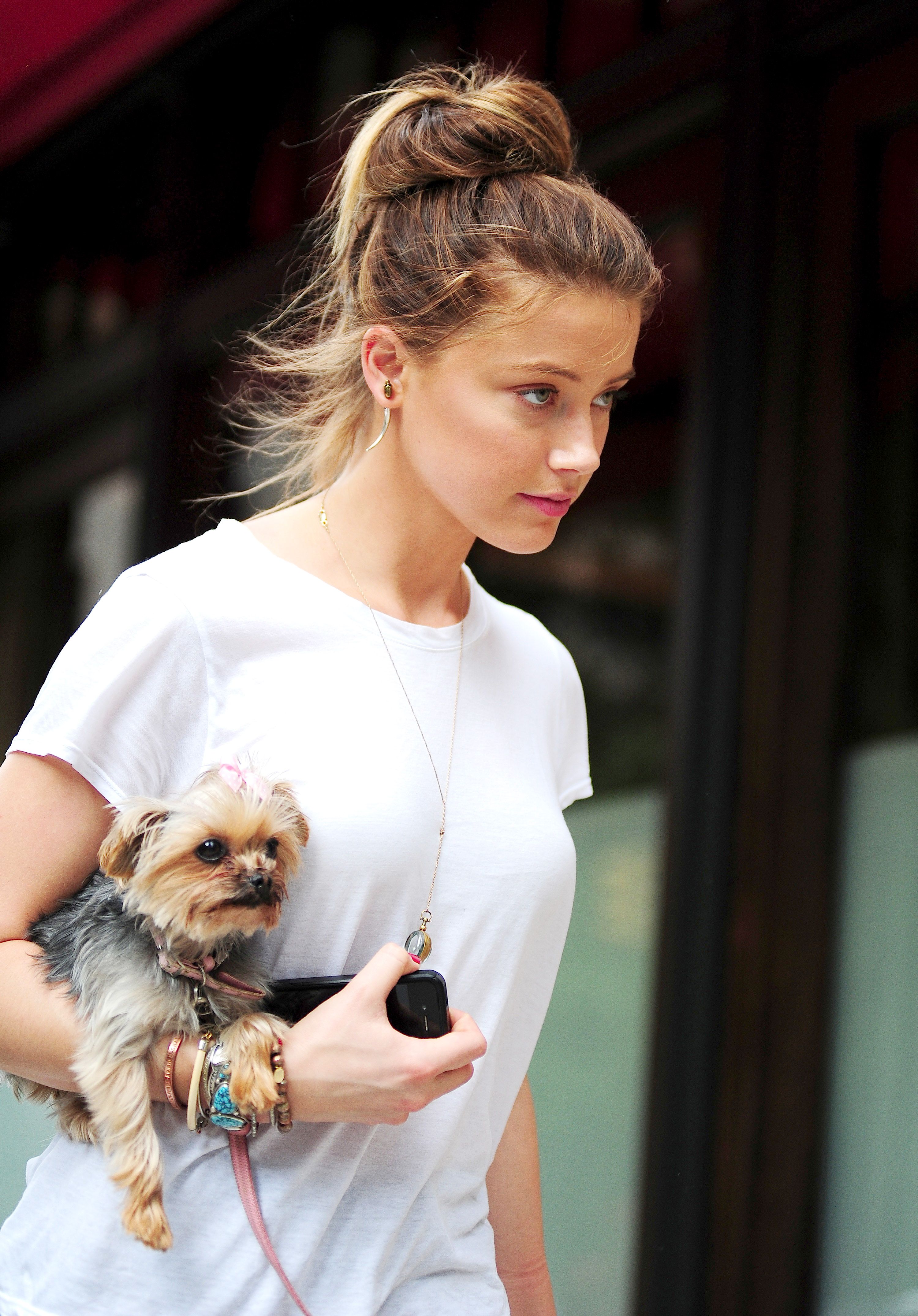 Amber Heard is seen in Tribeca on the streets of Manhattan on Aug. 27, 2012, in New York City