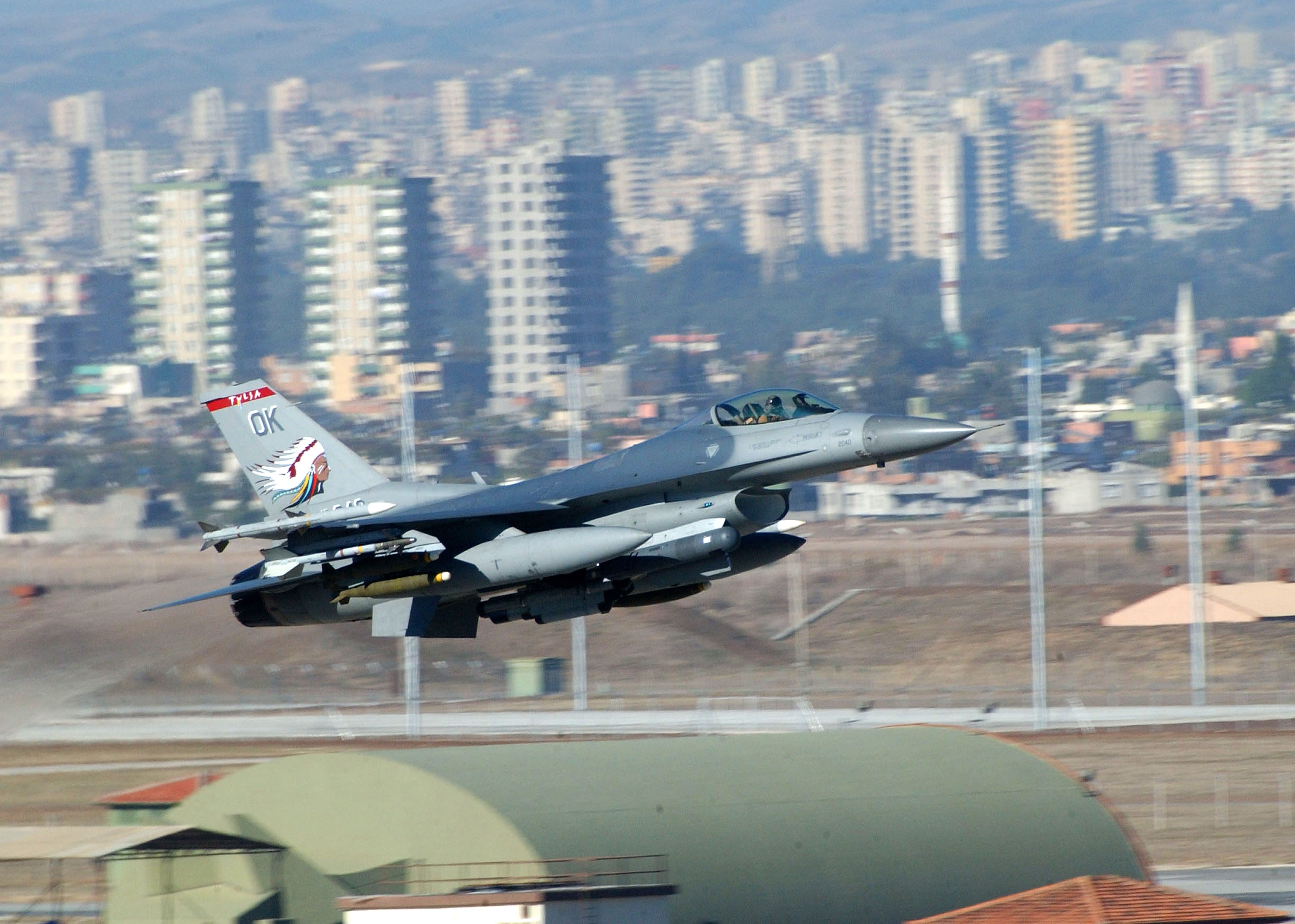 A U.S. Air Force F-16 leaves a Turkish base in 2002 for a mission over Iraq. Soon they are likely to be flying similar assignments over Syria.