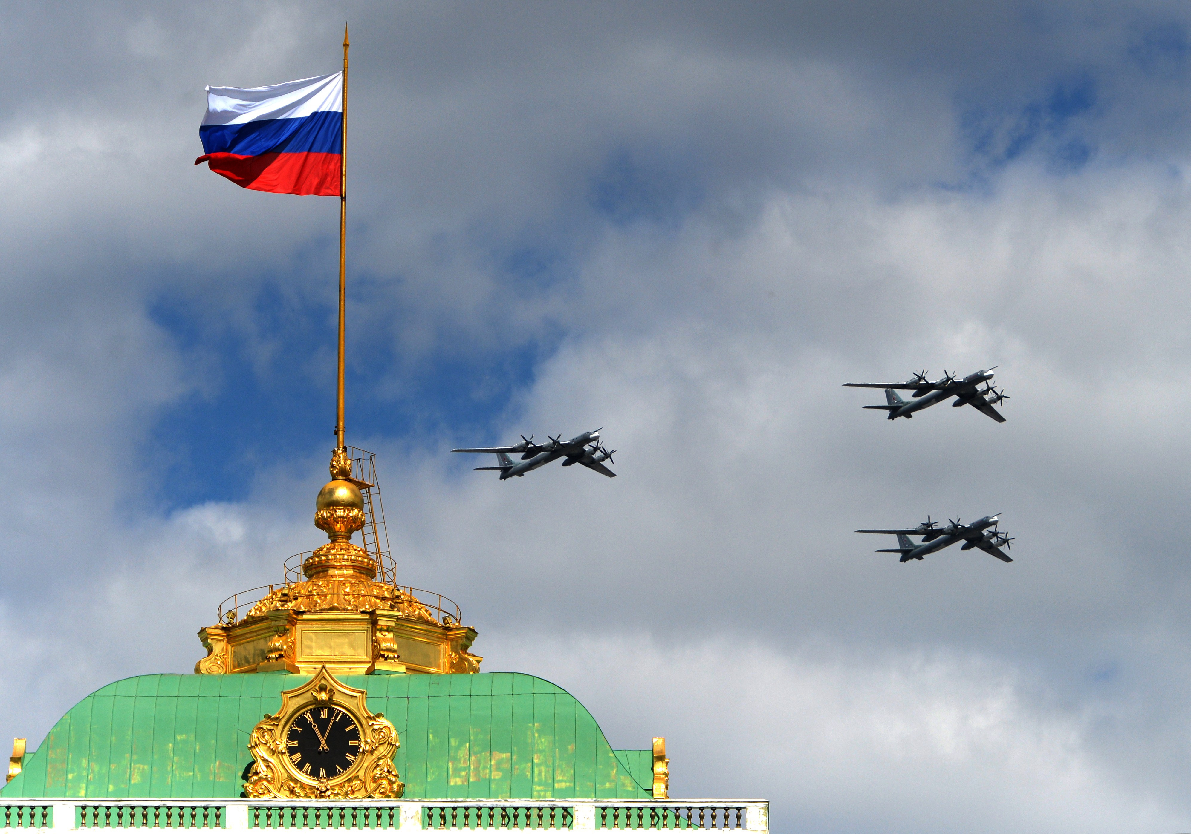 A trio of Tu-95 bombers flies over the Kremlin in May.
