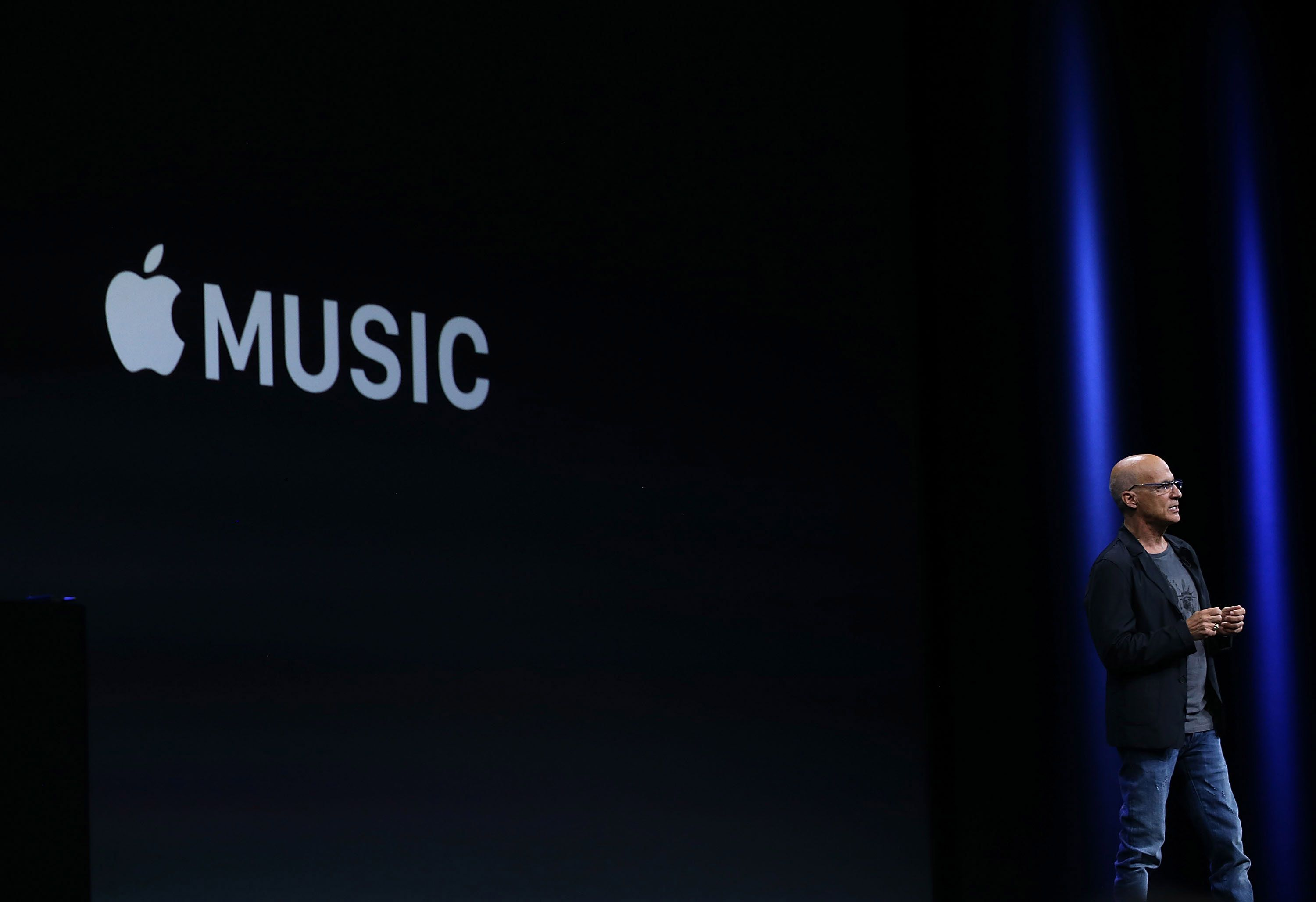 Jimmy Iovine announces Apple Music during Apple's WWDC on June 8, 2015, in San Francisco, Calif.