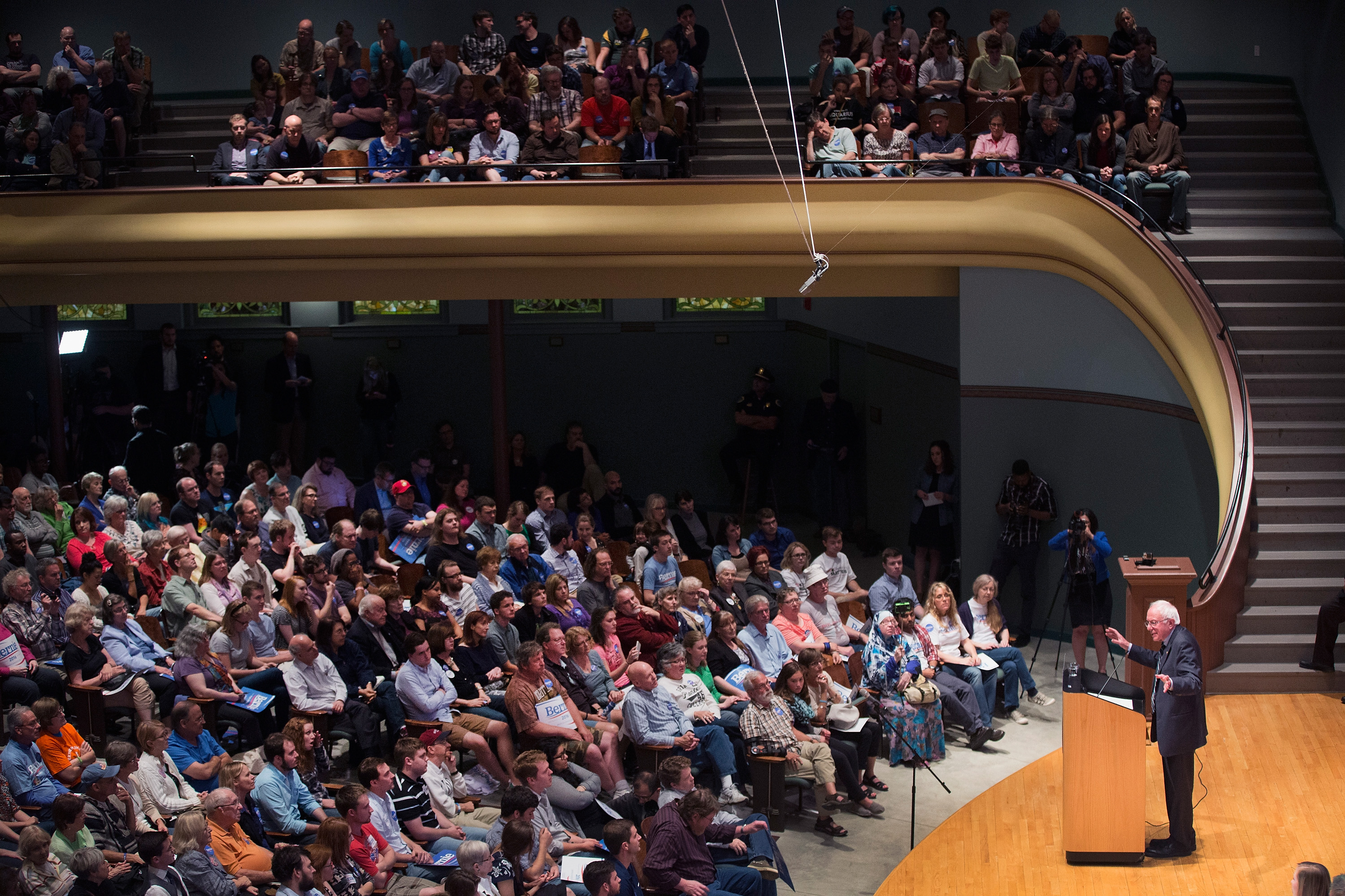 Senator Bernie Sanders (D-VT) speaks at a campaign event at Drake University on June 12, 2015 in Des Moines, Iowa. Sanders, an advocate of providing free college education to all Americans, was greeted by a standing-room-only crowd at the event.
